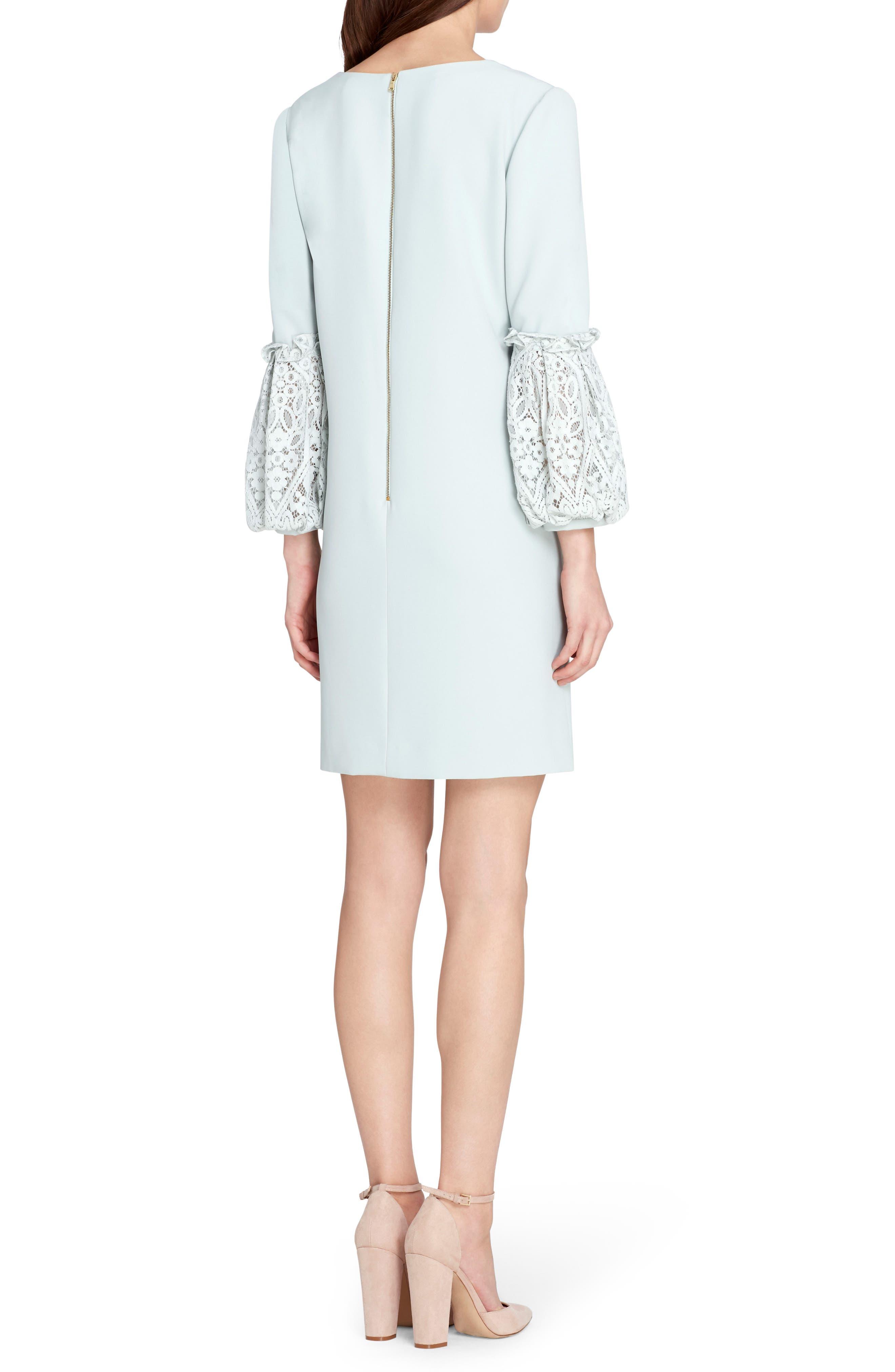 Lace & Ruffle Sleeve Shift Dress,                             Alternate thumbnail 2, color,                             Whispering Blue
