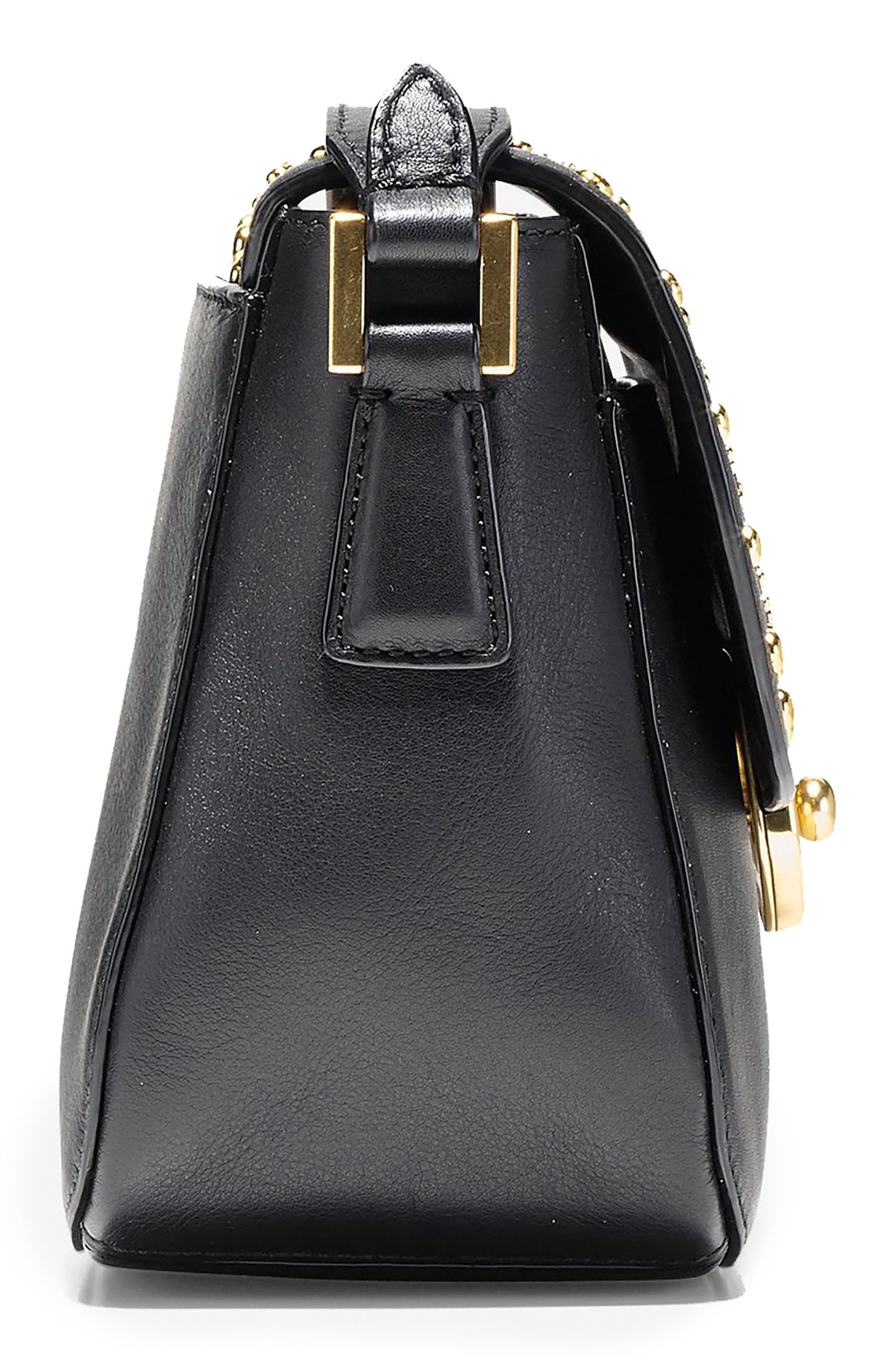 Mini Marli Studded Leather Saddle Bag,                             Alternate thumbnail 4, color,                             Black
