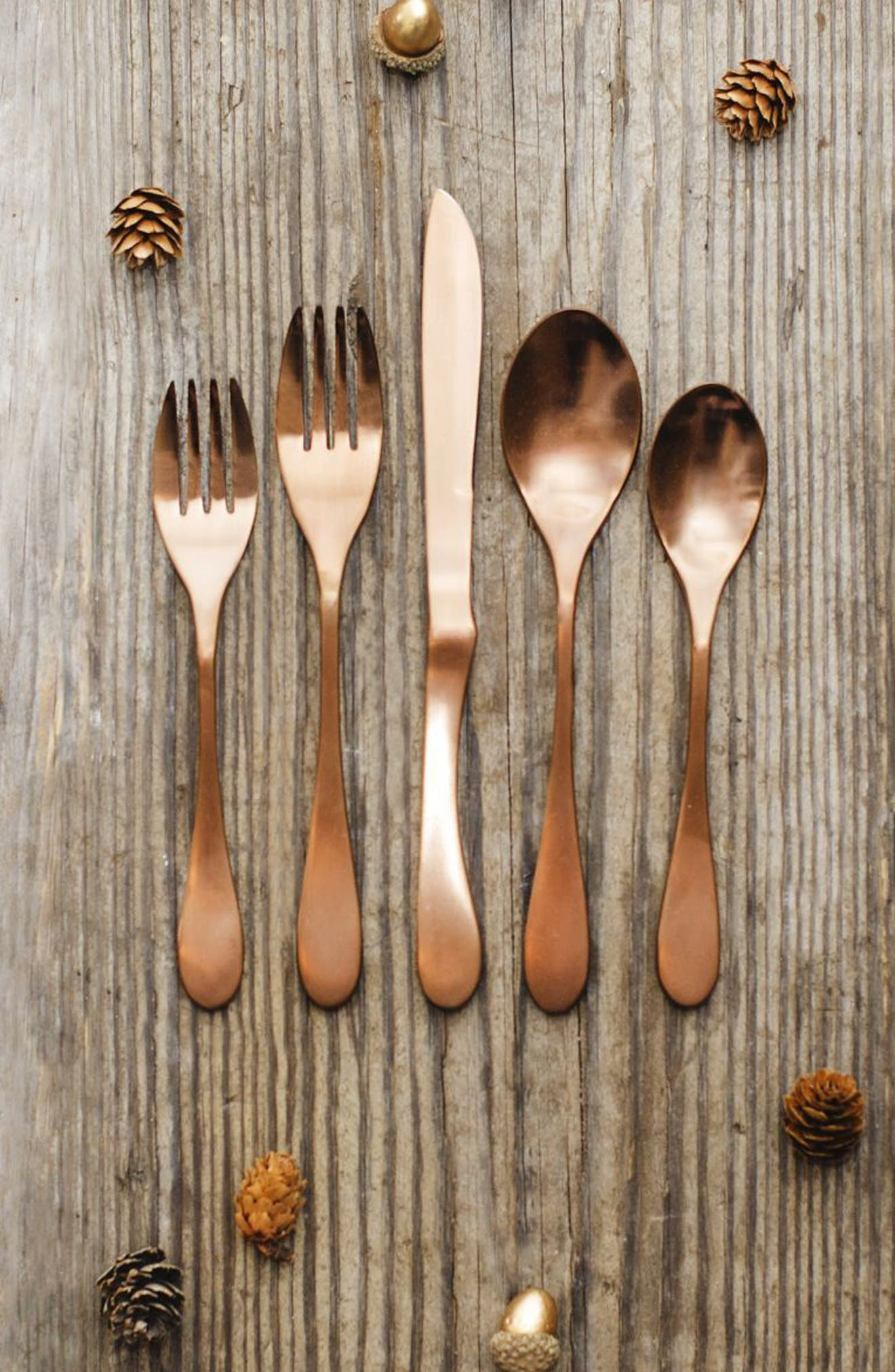 5-Piece Copper Finish Place Setting,                             Alternate thumbnail 2, color,                             Copper