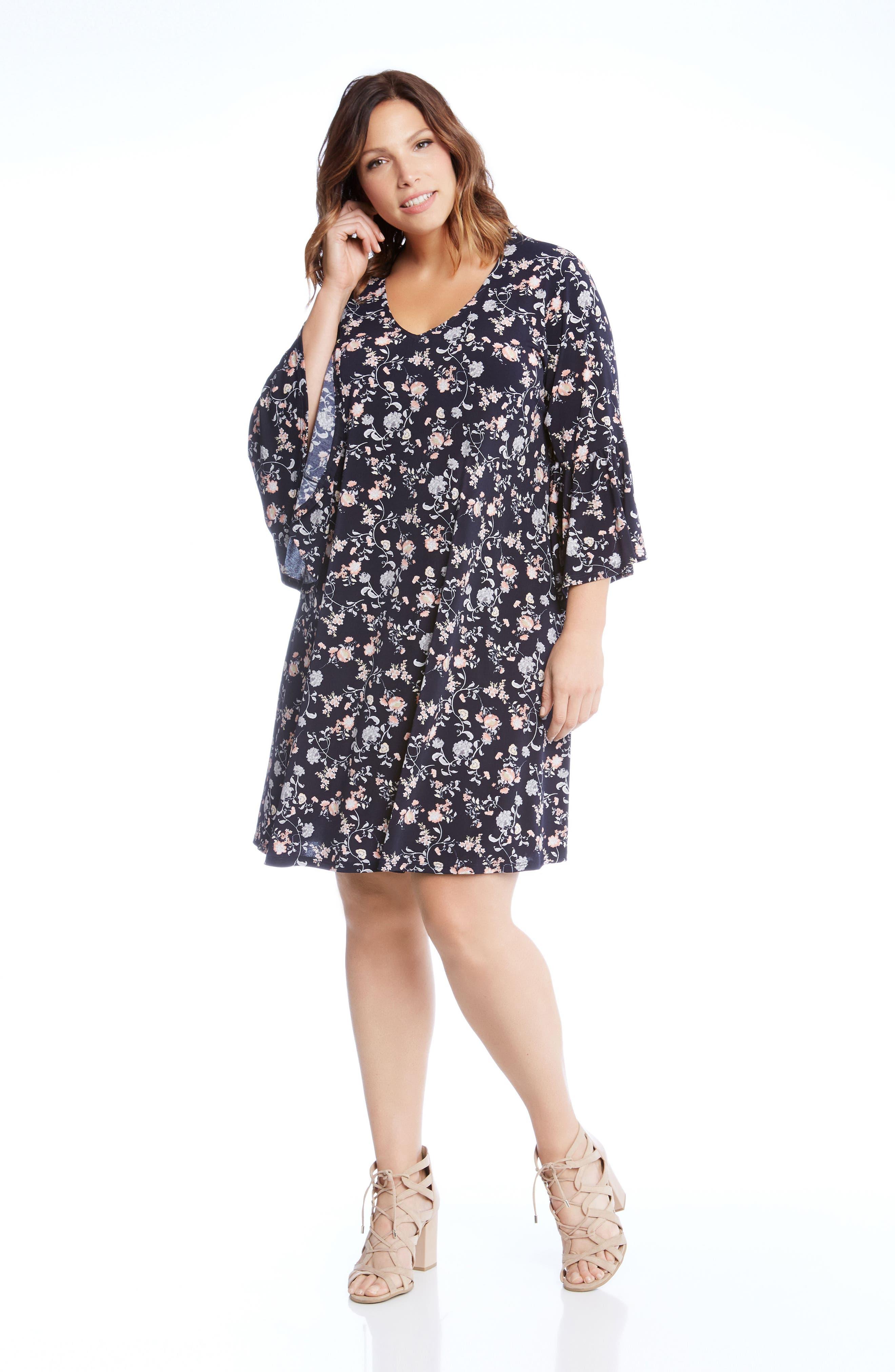 Ruffle Sleeve Floral Shift Dress,                         Main,                         color, Print
