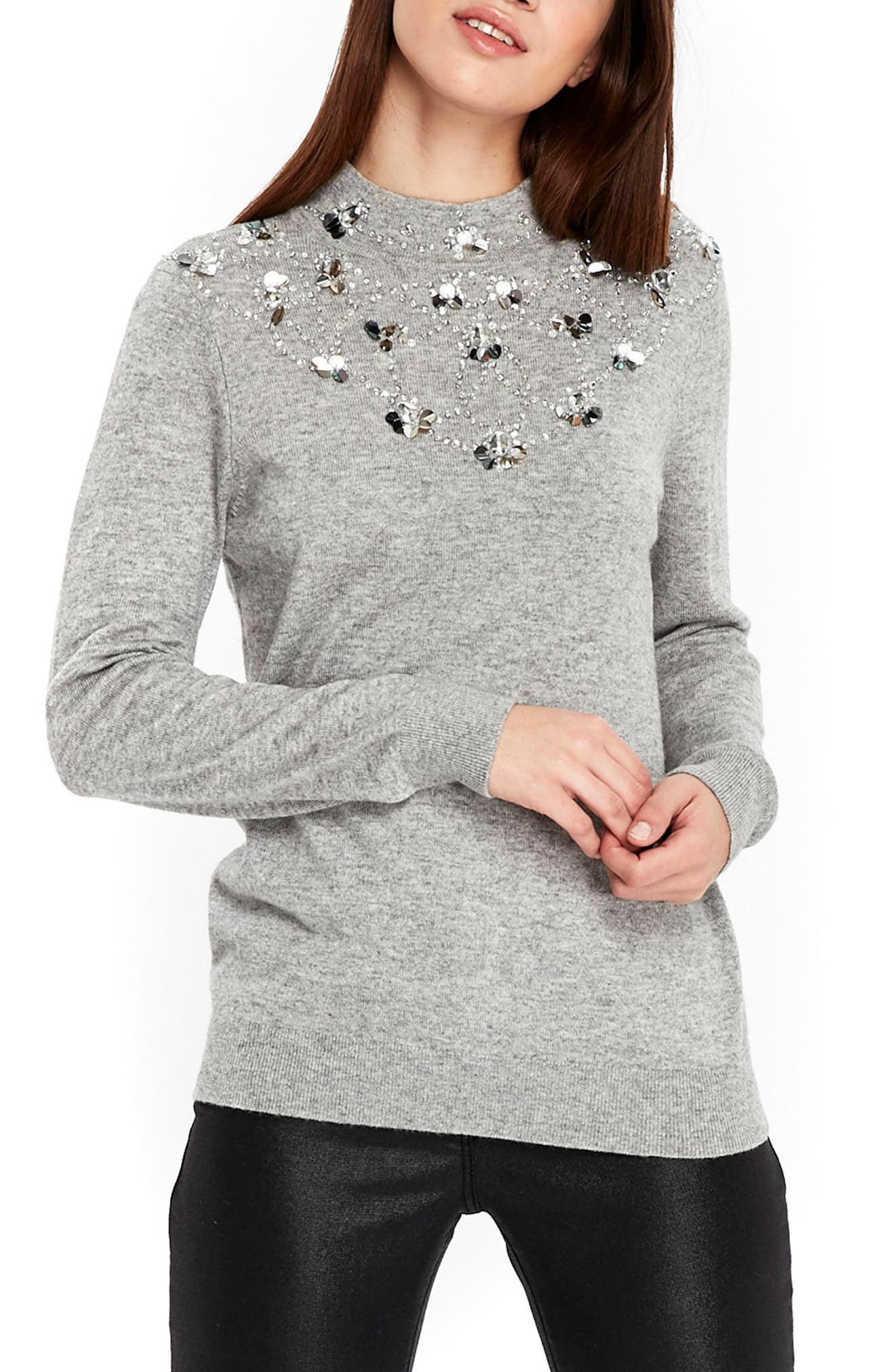 Wallis Mock Neck Embellished Sweater