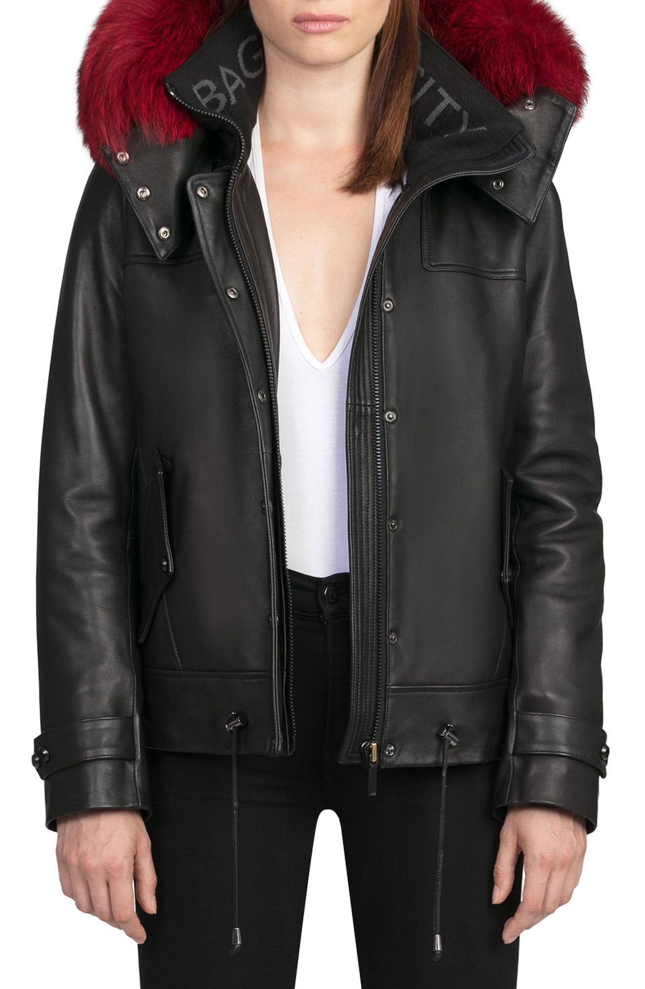 BAGATELLE.CITY The Aspen Leather Jacket with Genuine Fox Fur Trim,                             Main thumbnail 1, color,                             Black/ Red