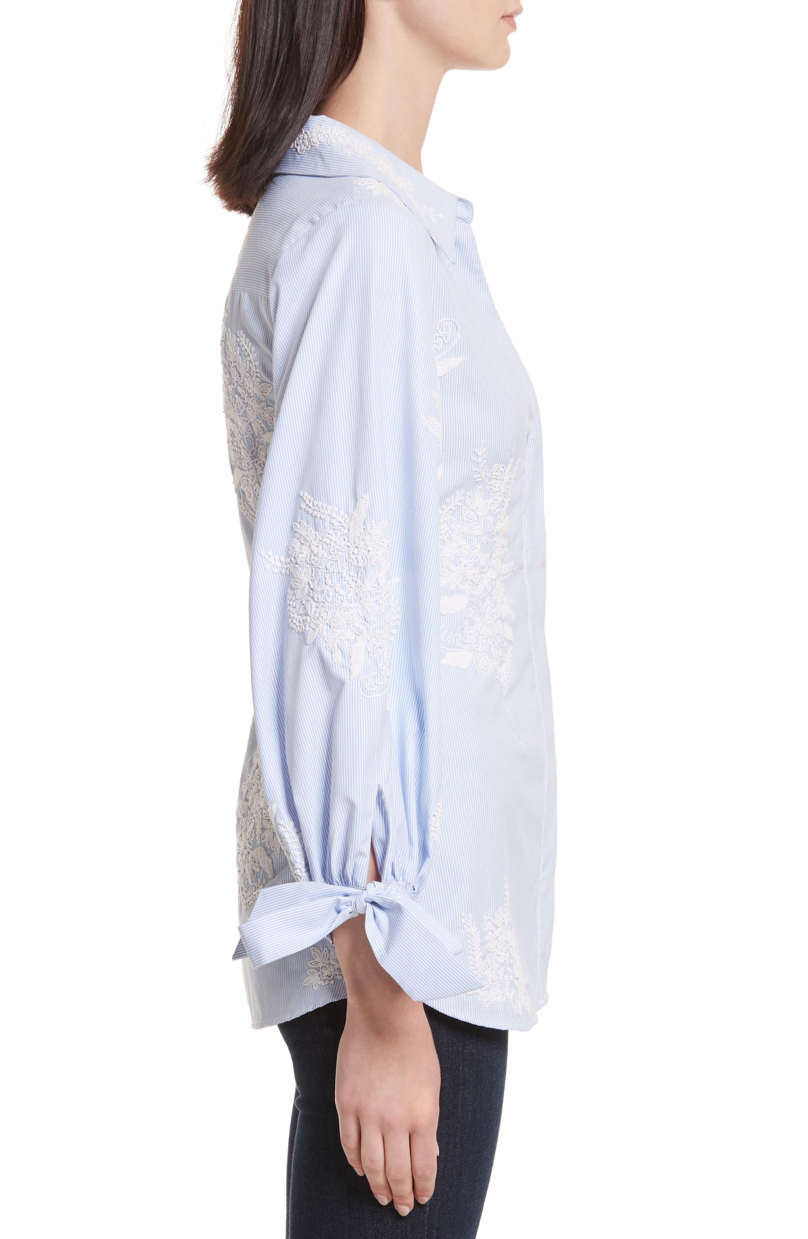 Alternate Image 3  - Alice + Olivia Toro Embroidered Tie Sleeve Blouse