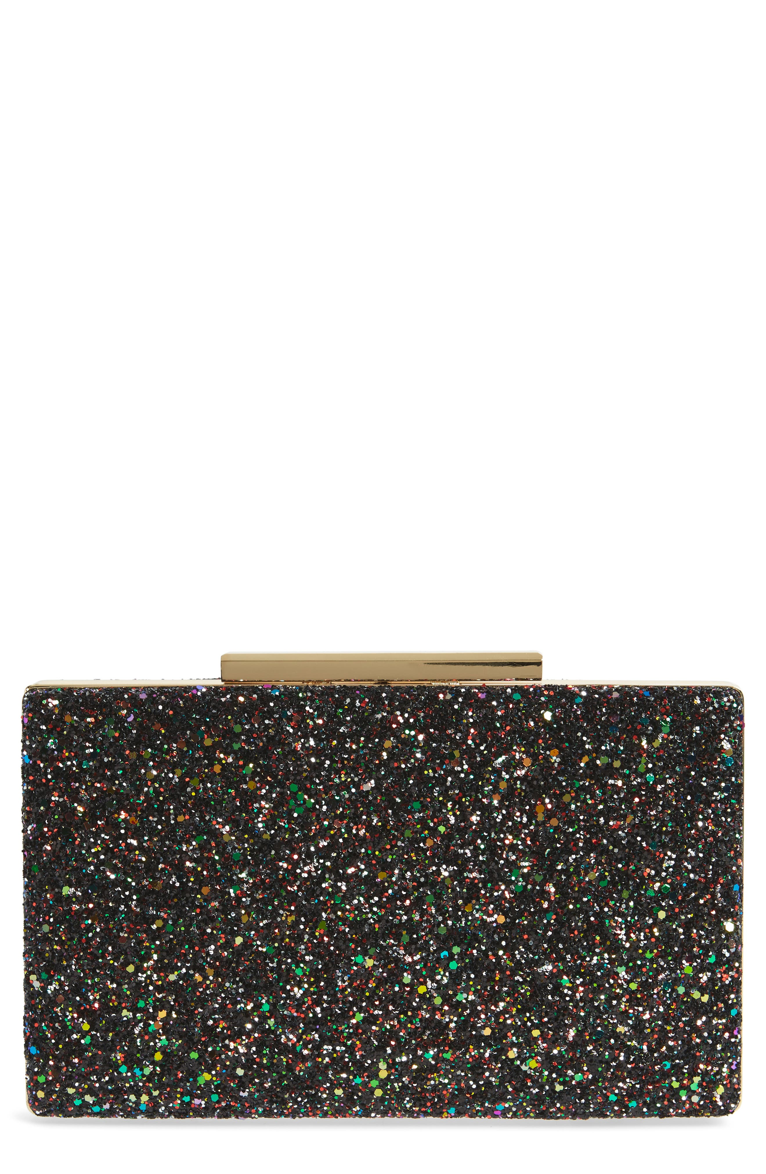 Glitter Clutch,                             Main thumbnail 1, color,                             Red Multi