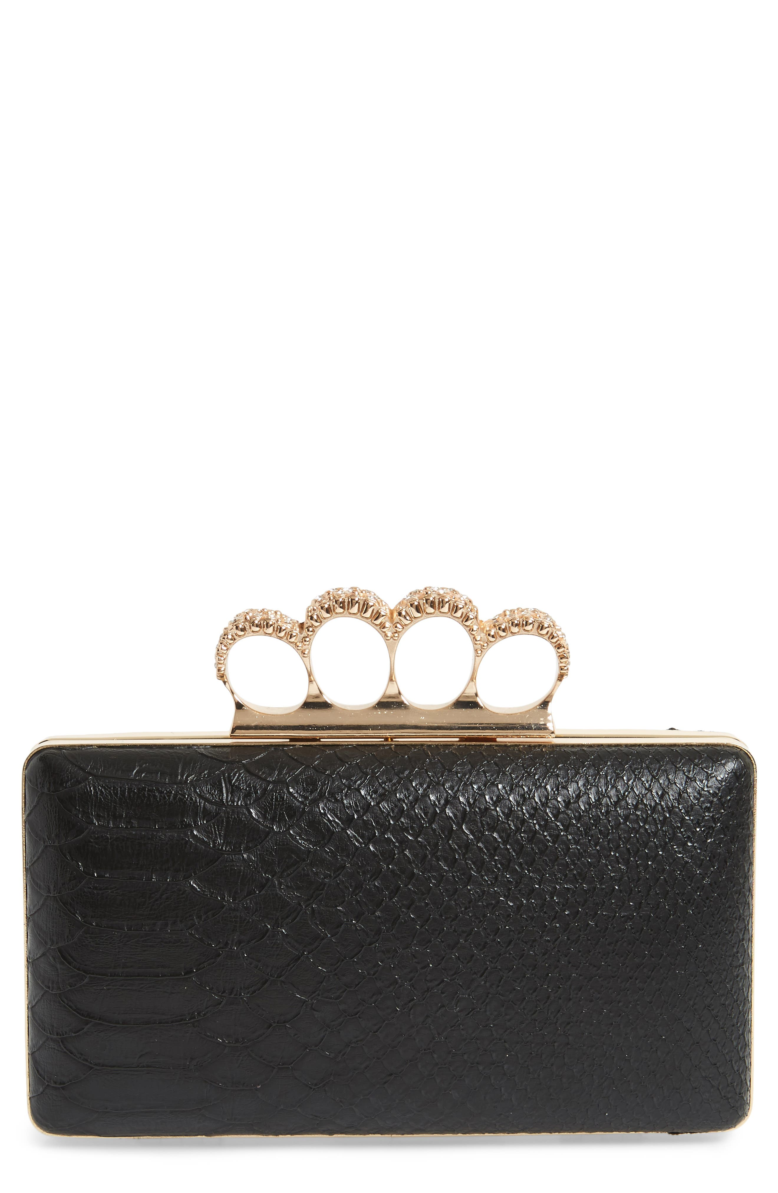 Knuckle Box Clutch,                             Main thumbnail 1, color,                             Gold/ Black