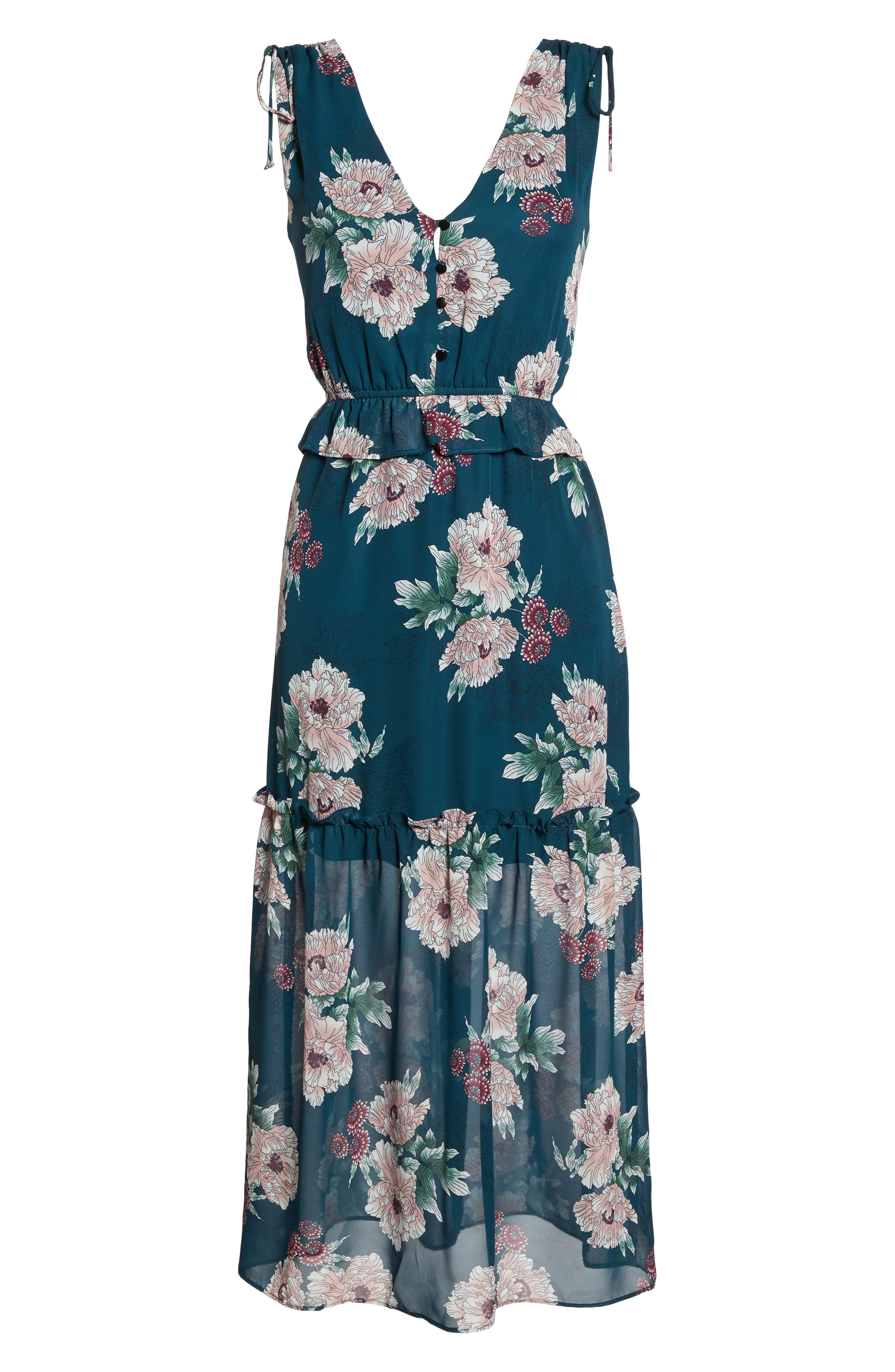 Floral Midi Dress,                             Alternate thumbnail 6, color,                             Pine