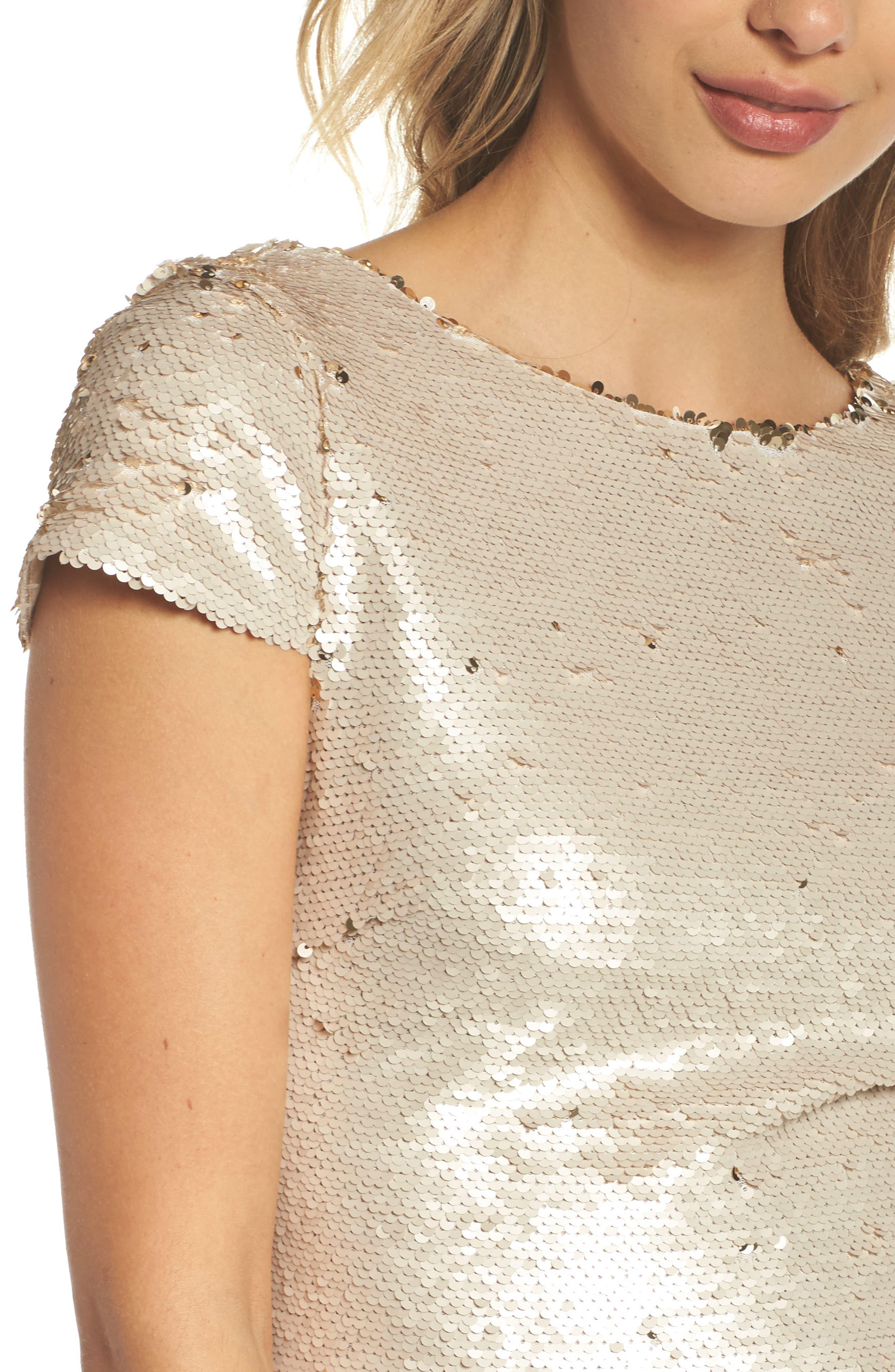 Sequin Sheath Dress,                             Alternate thumbnail 4, color,                             Champagne