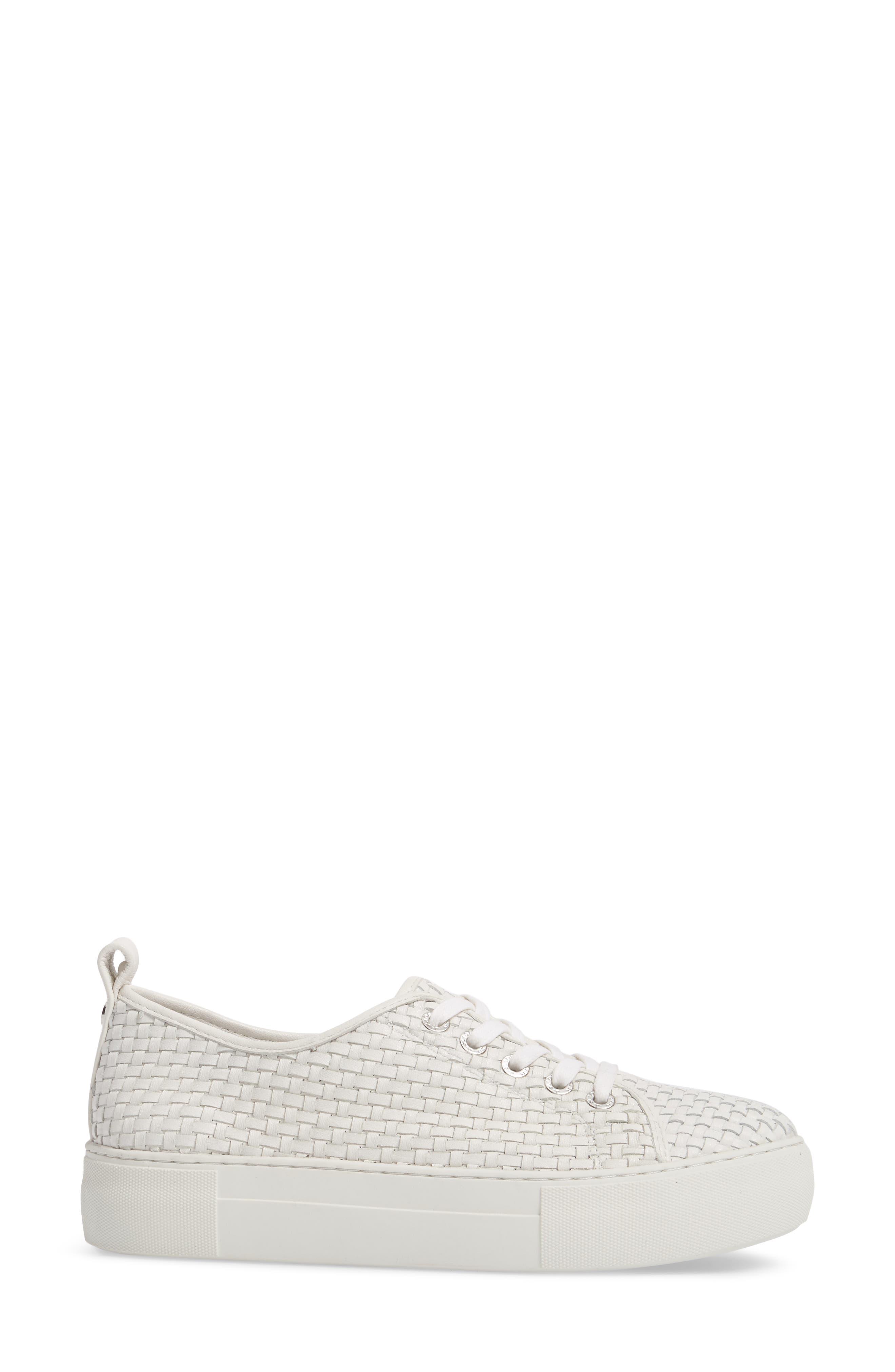 Artsy Woven Platform Sneaker,                             Alternate thumbnail 3, color,                             White Leather