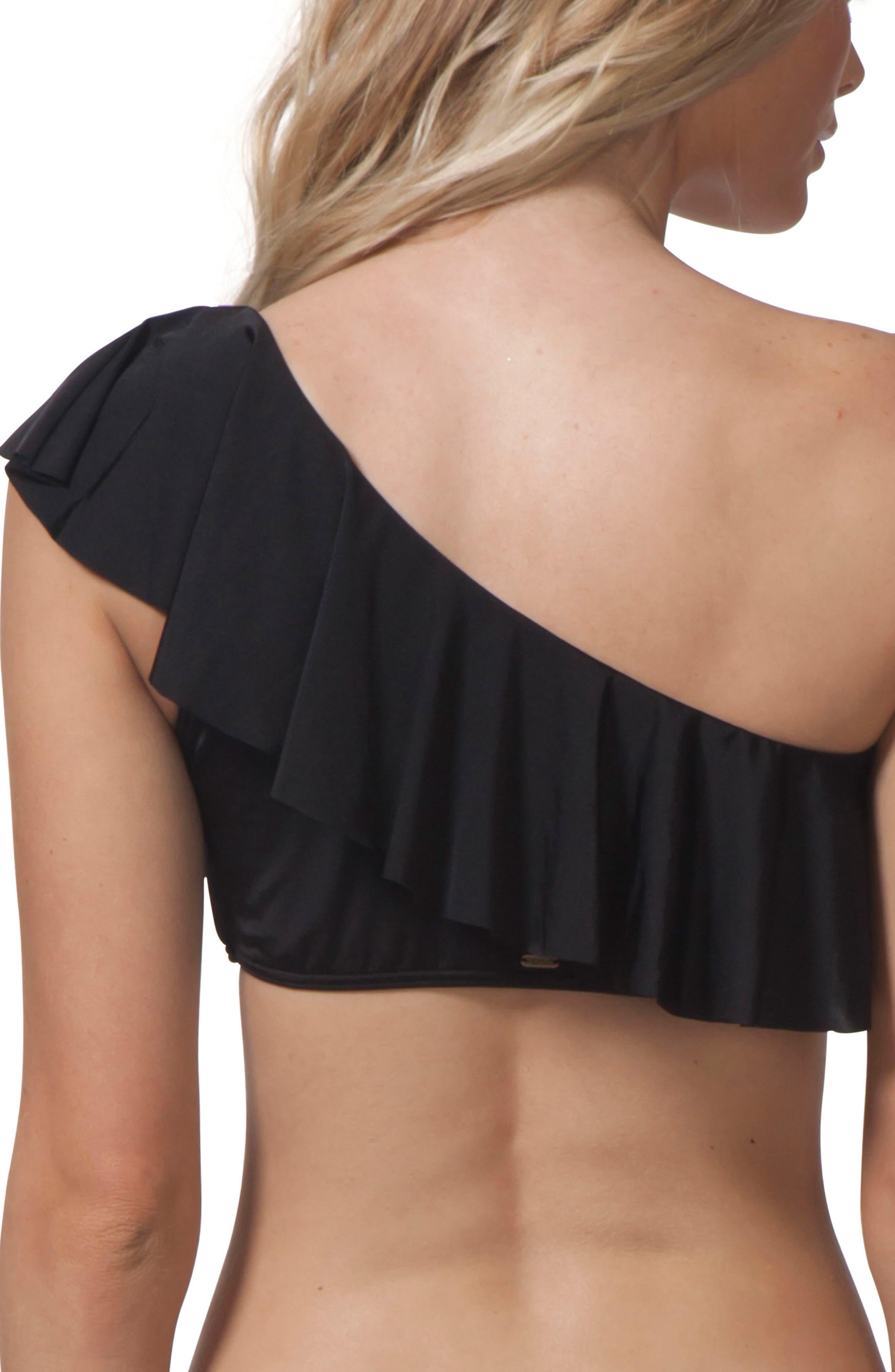 Designer Surf One-Shoulder Bikini Top,                             Alternate thumbnail 2, color,                             Black
