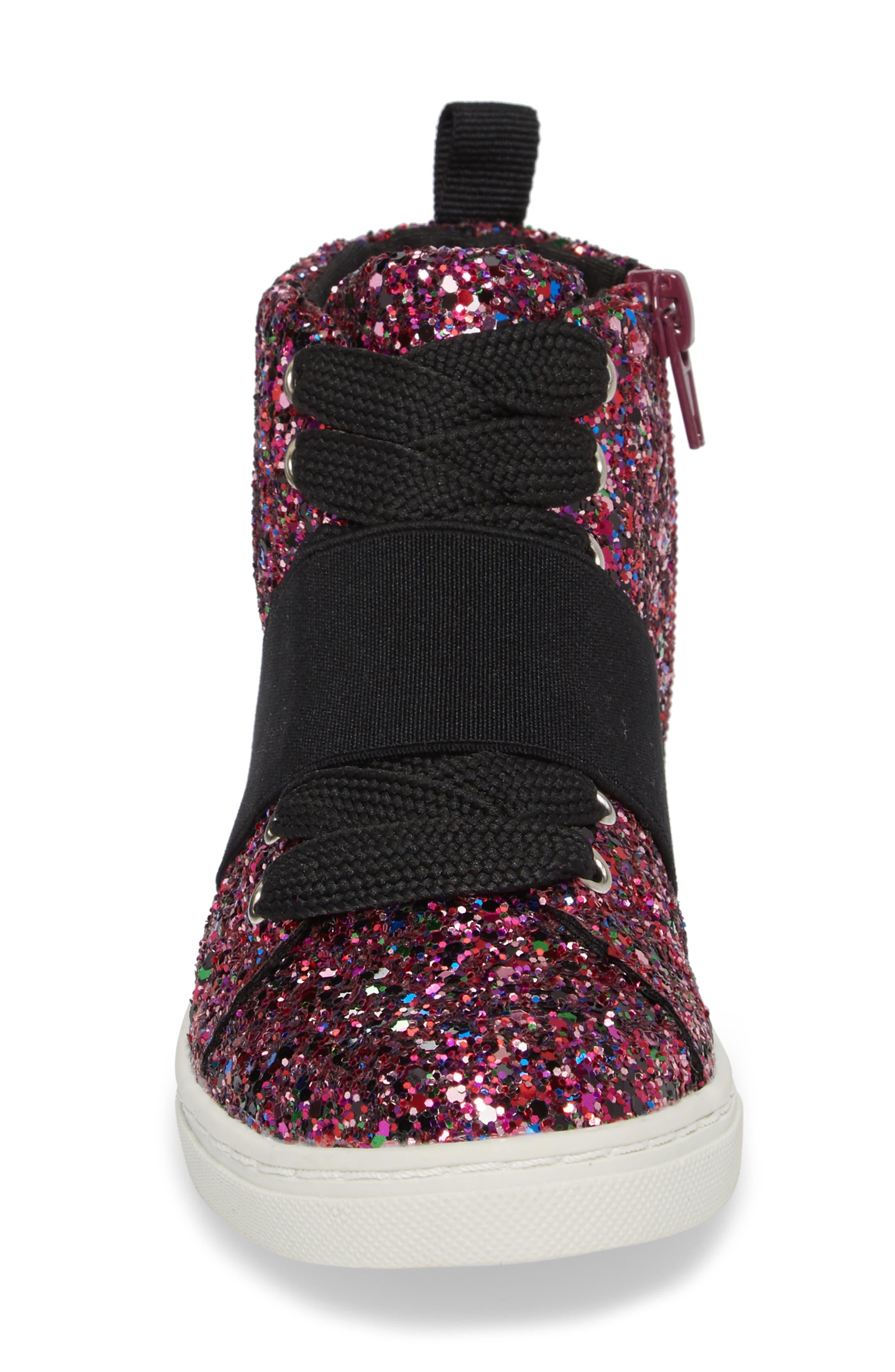 Zoa High Top Sneaker,                             Alternate thumbnail 4, color,                             Fuchsia Glitter