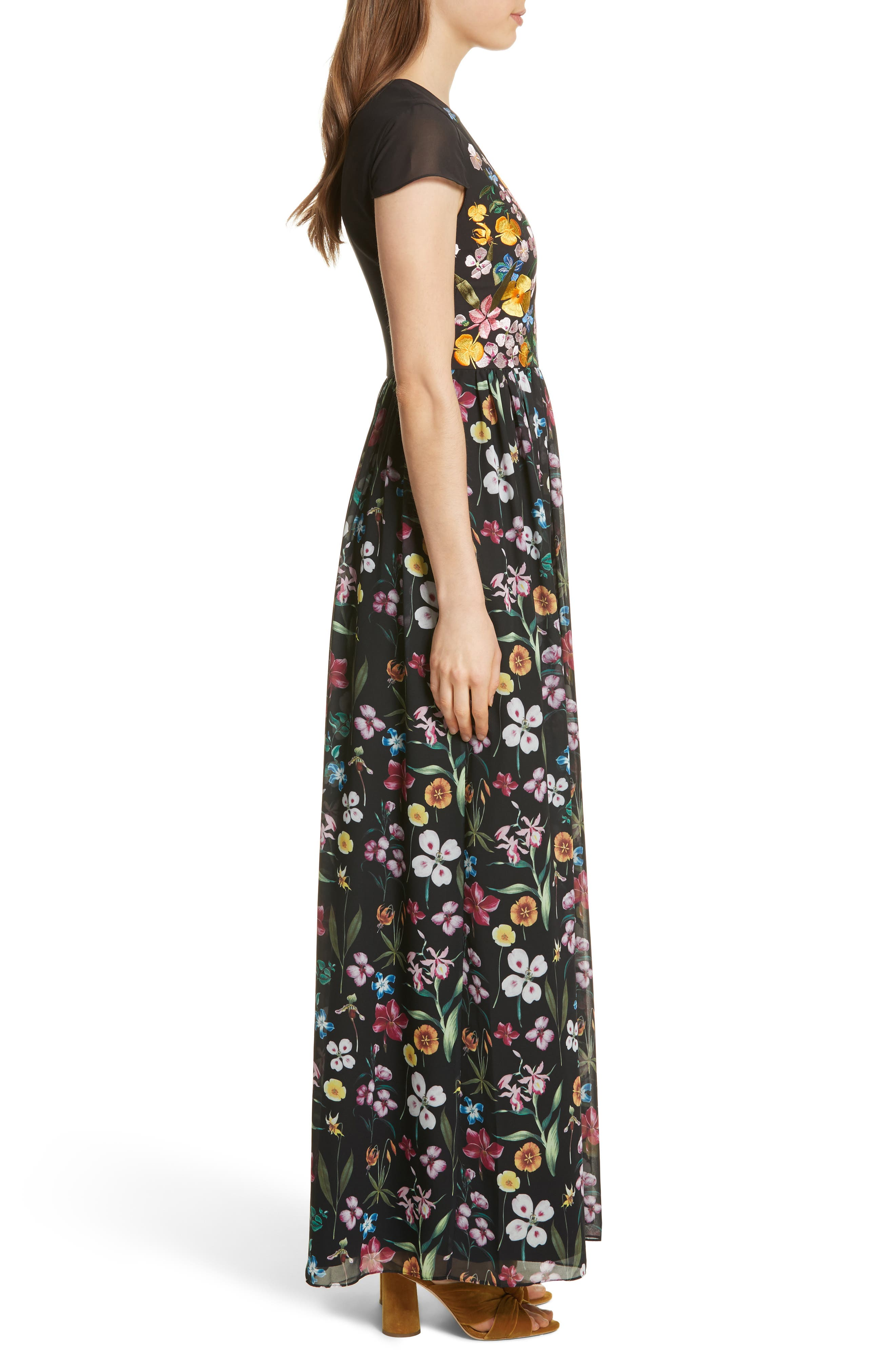 Hampton Maxi Dress,                             Alternate thumbnail 3, color,                             Black