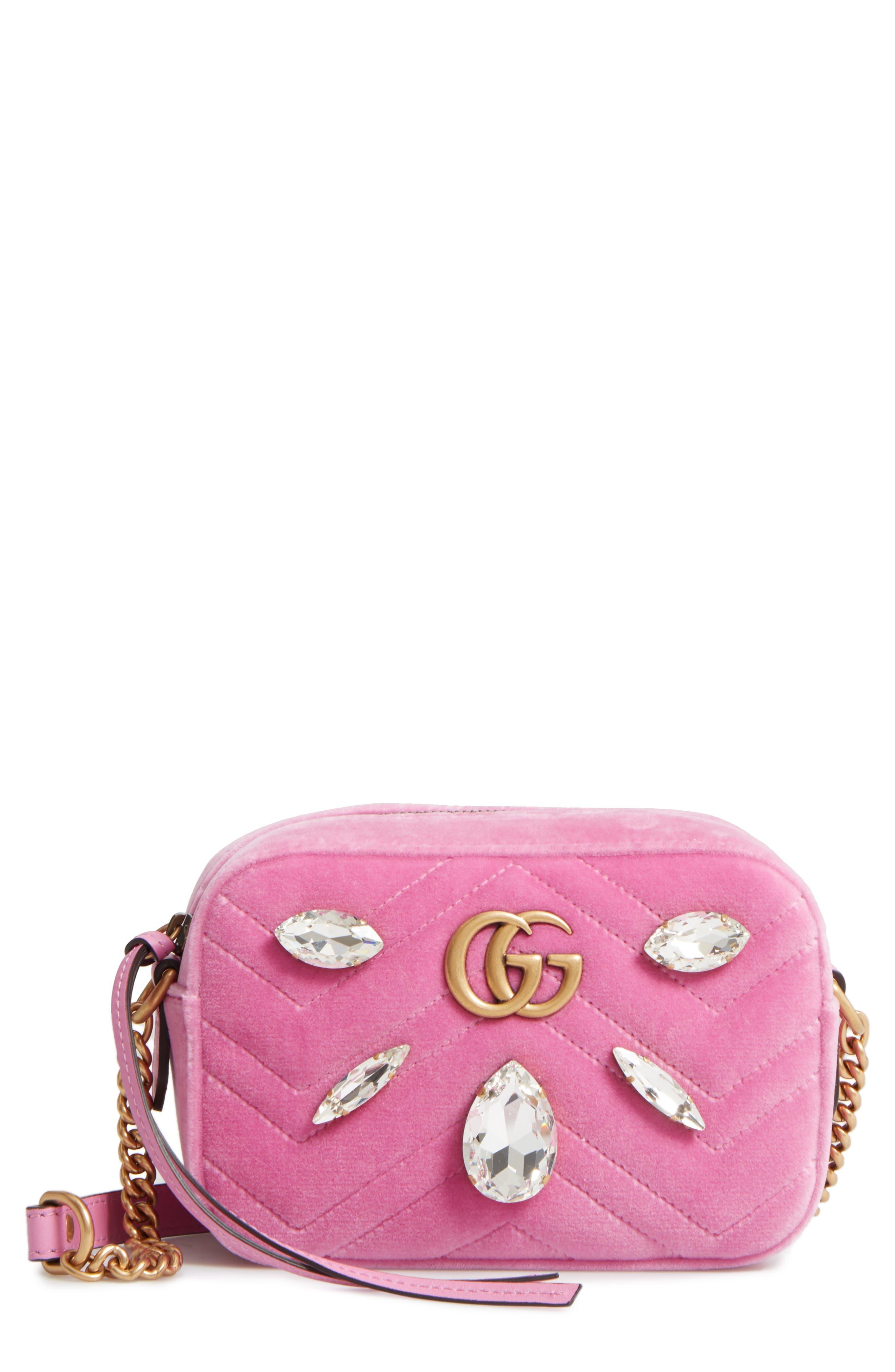 Gucci GG Marmont Crystal Matelassé Quilted Velvet Crossbody Bag
