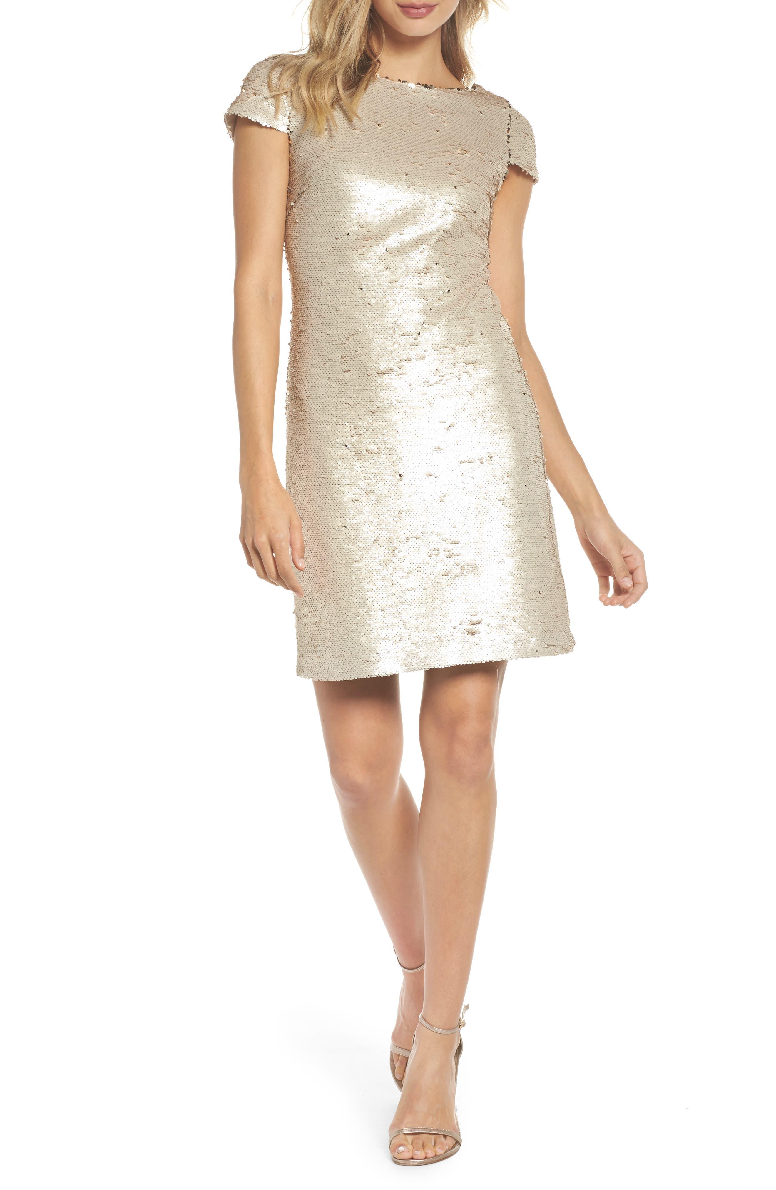 Sequin Sheath Dress,                             Main thumbnail 1, color,                             Champagne