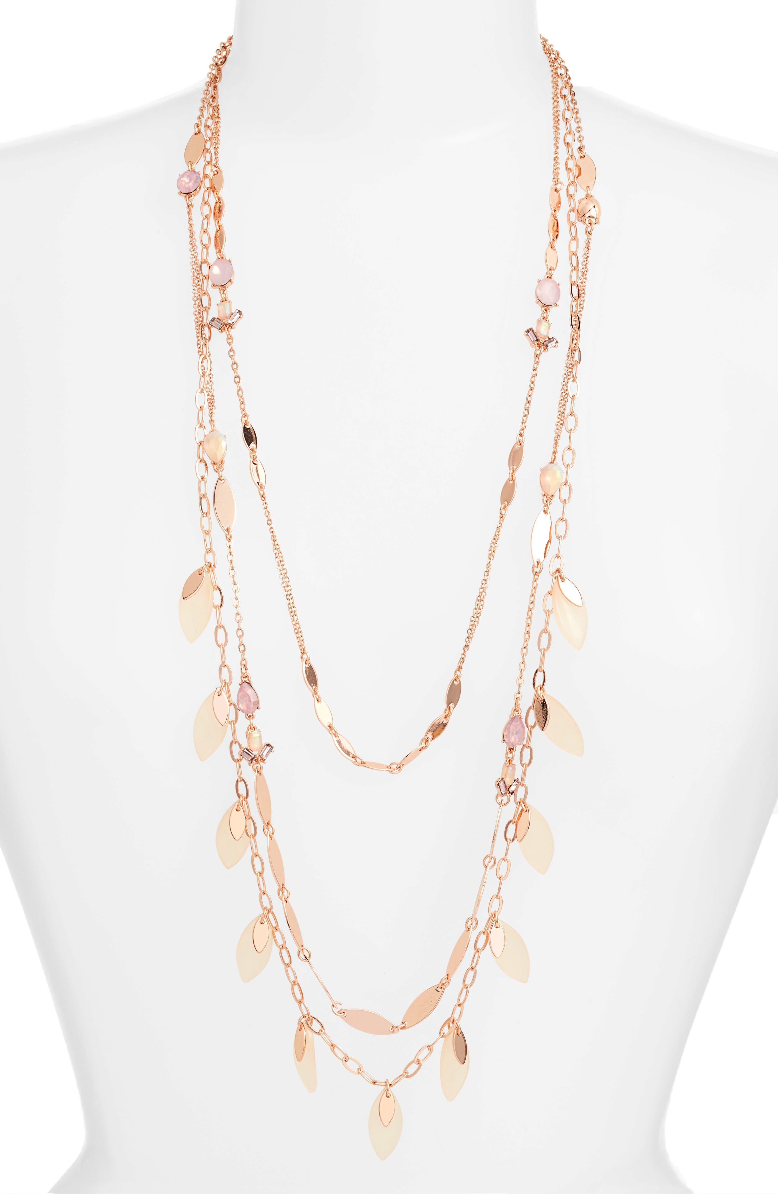 Layered Jewel & Petal Necklace,                             Main thumbnail 1, color,                             Pink Multi- Rose Gold