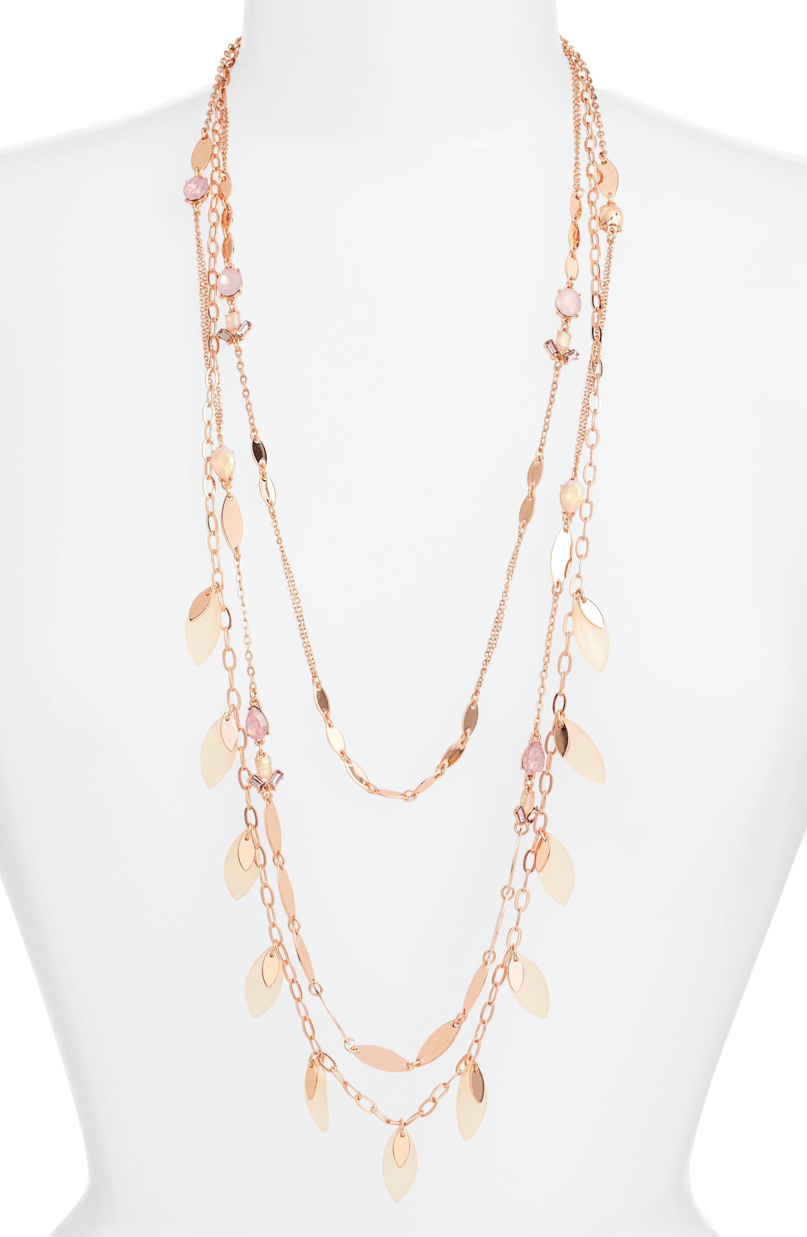 Layered Jewel & Petal Necklace,                         Main,                         color, Pink Multi- Rose Gold