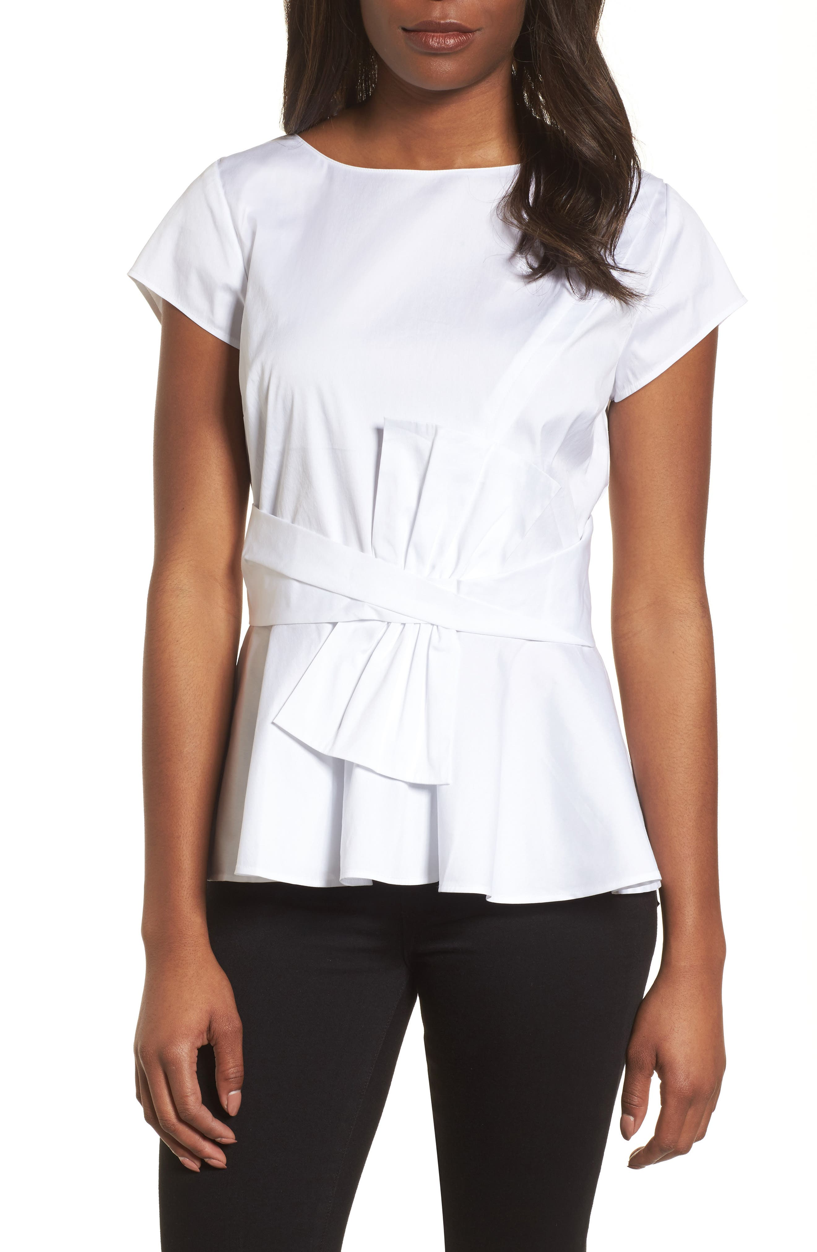 Bow Detail Peplum Top,                         Main,                         color, White