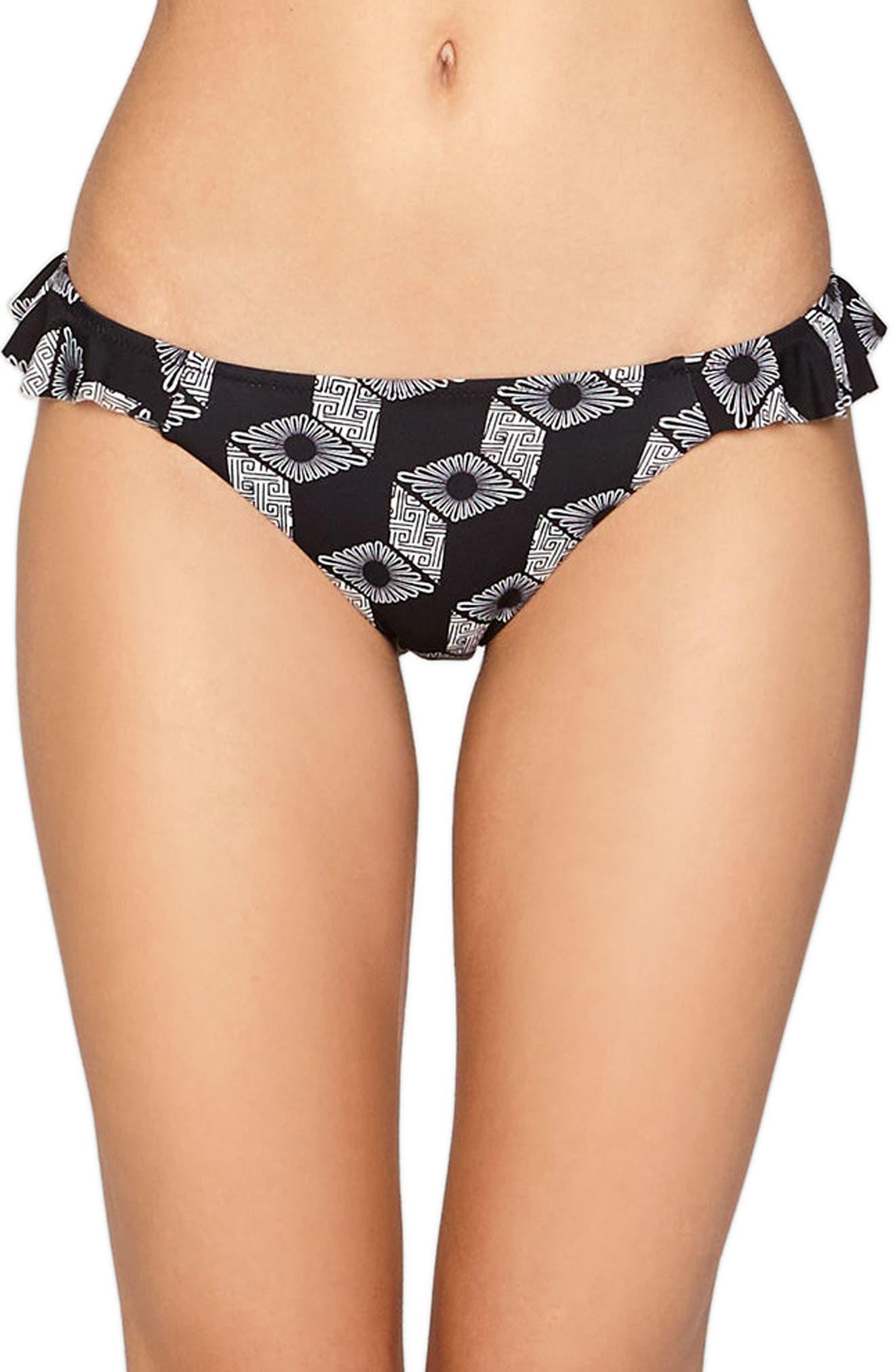 Amuse Society Beck Ruffle Trim Cheeky Bikini Bottoms