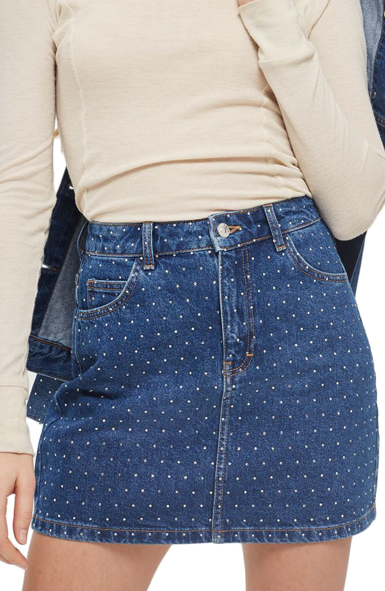 Crystal Studded Denim Miniskirt,                             Main thumbnail 1, color,                             Mid Denim