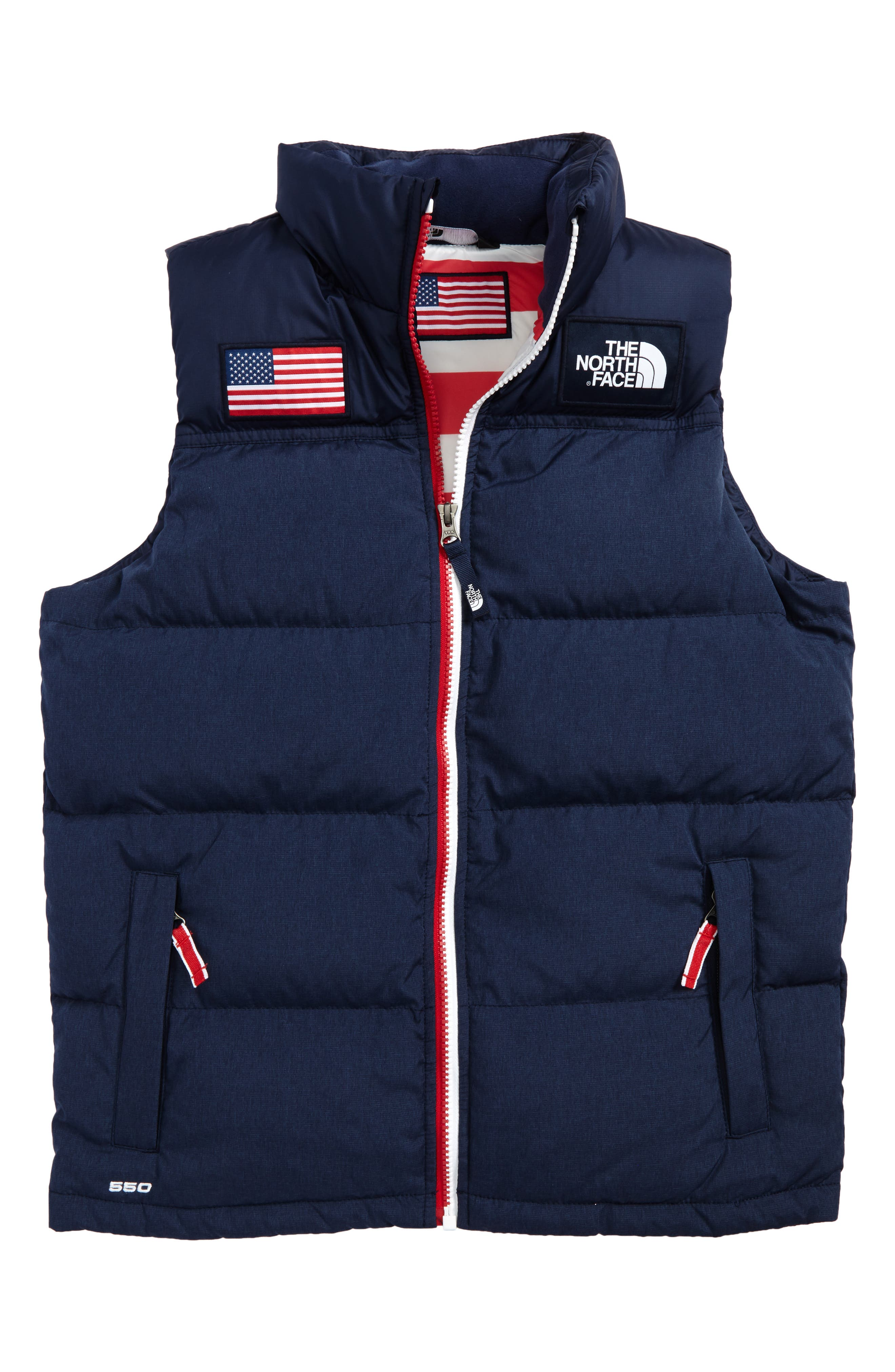 International Collection Nuptse<sup>®</sup> 550 Fill Power Down Puffer Vest,                         Main,                         color, Cosmis Blue Heather