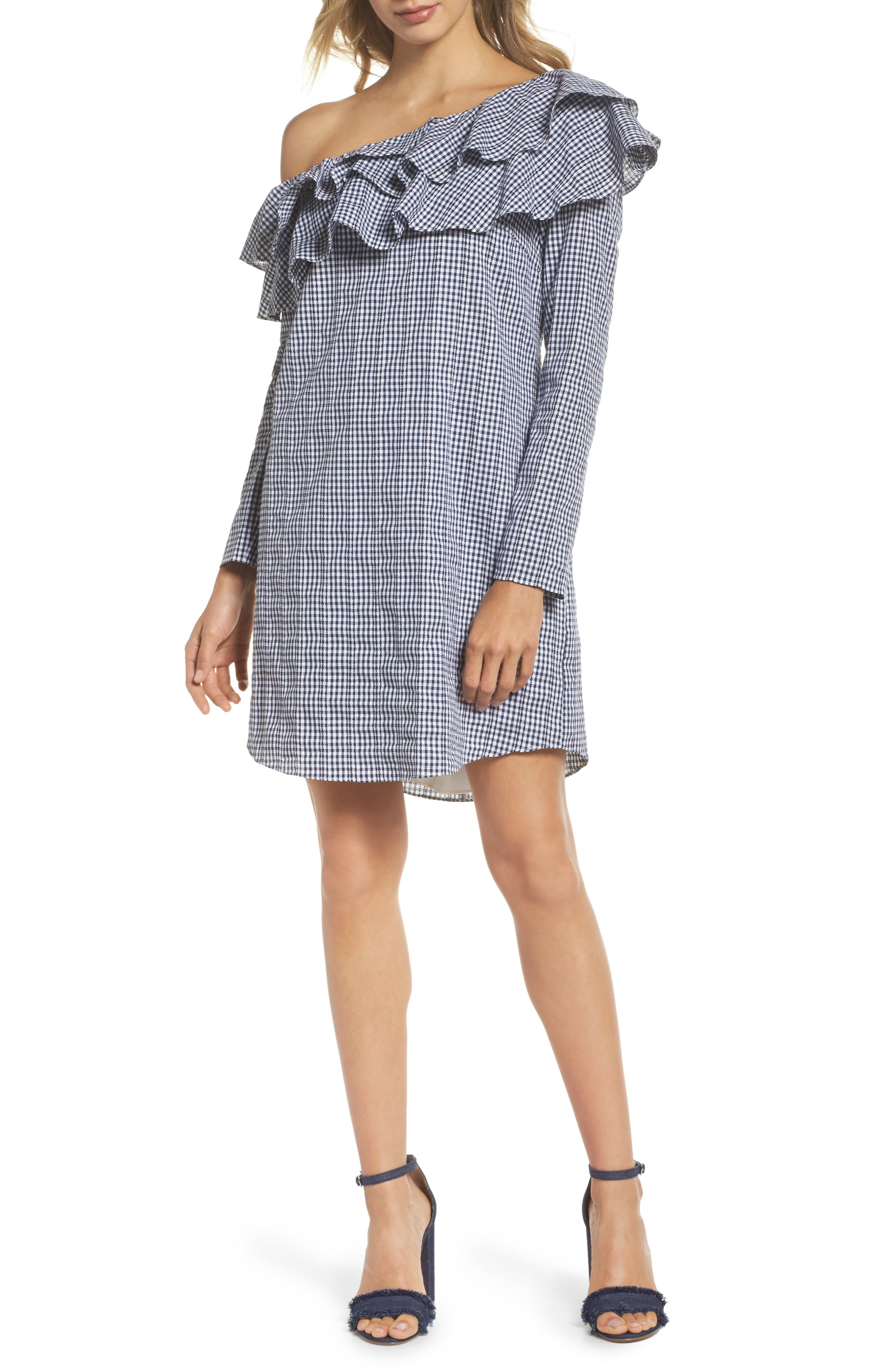 Gingham One-Shoulder Ruffle Dress,                         Main,                         color, Navy