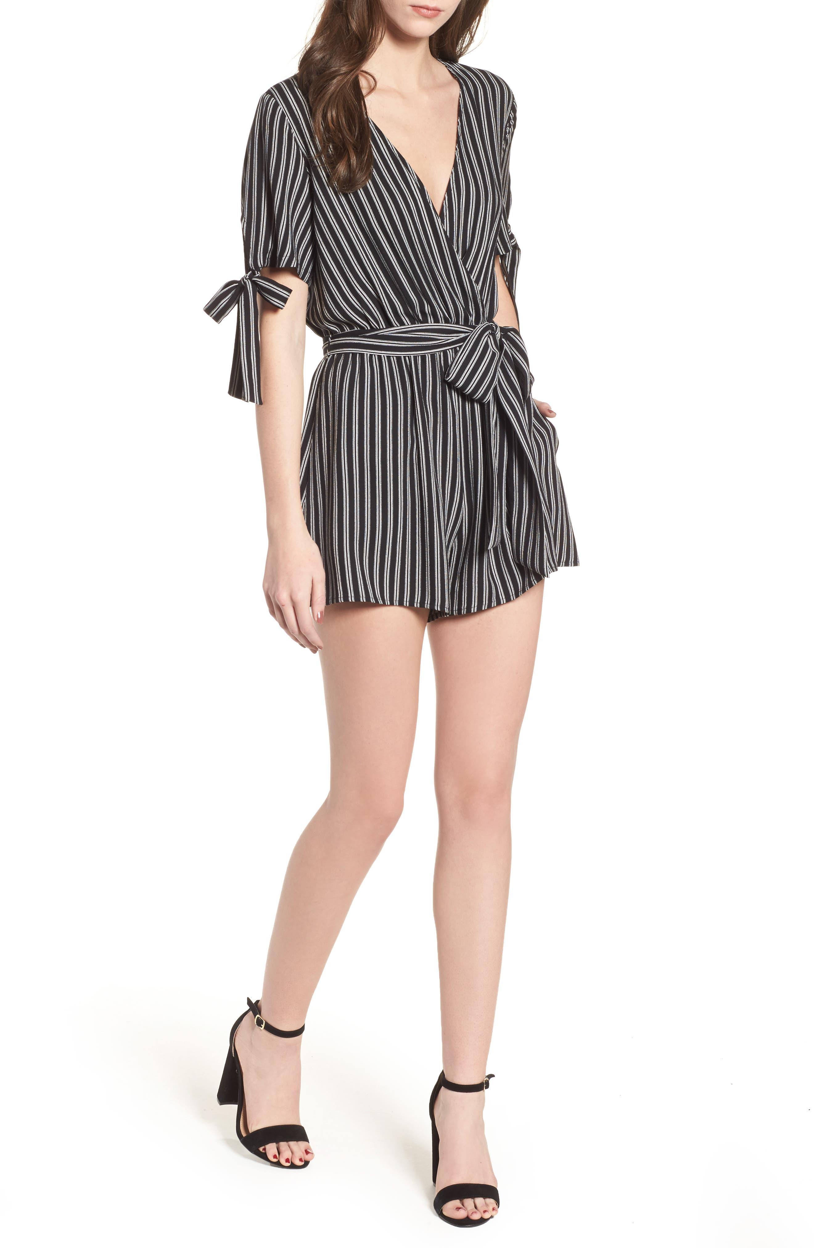 Faux Wrap Tie Sleeve Romper,                         Main,                         color, Black White Stripe