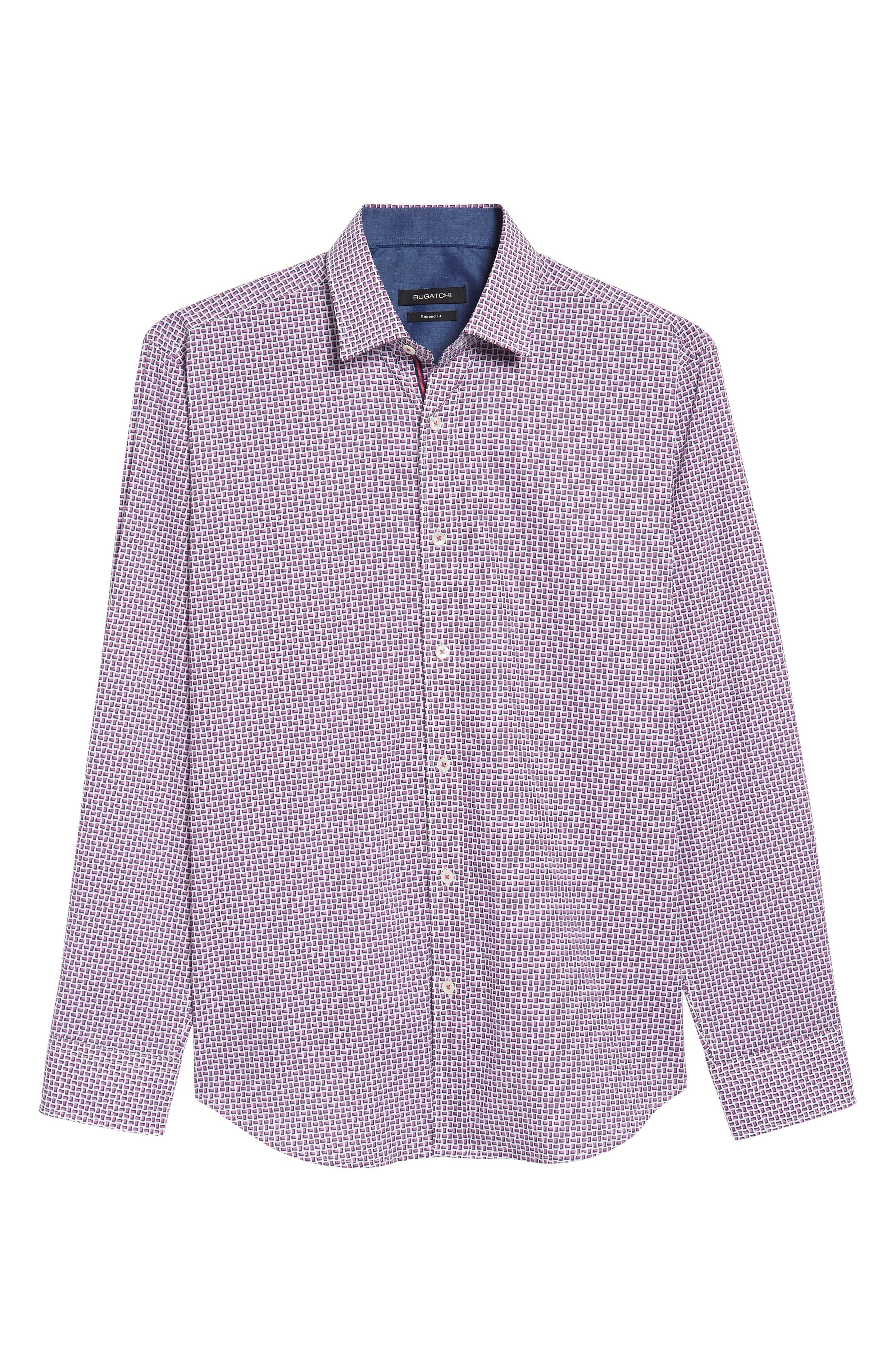Shaped Fit Print Sport Shirt,                             Alternate thumbnail 6, color,                             Pink
