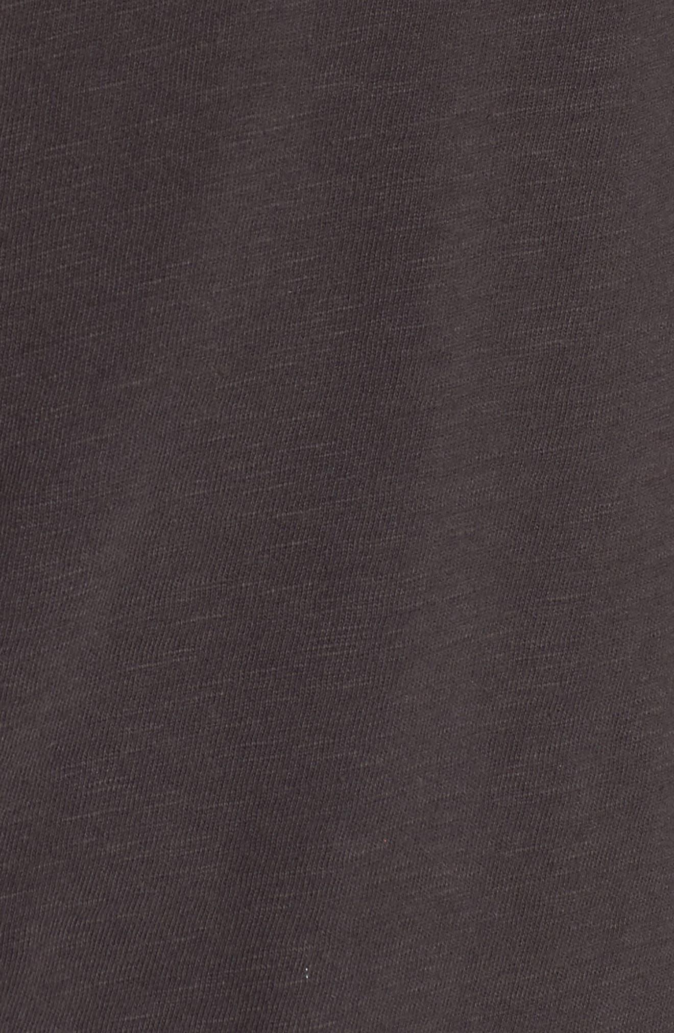 Ruffle Slub Knit Tee,                             Alternate thumbnail 5, color,                             Coal