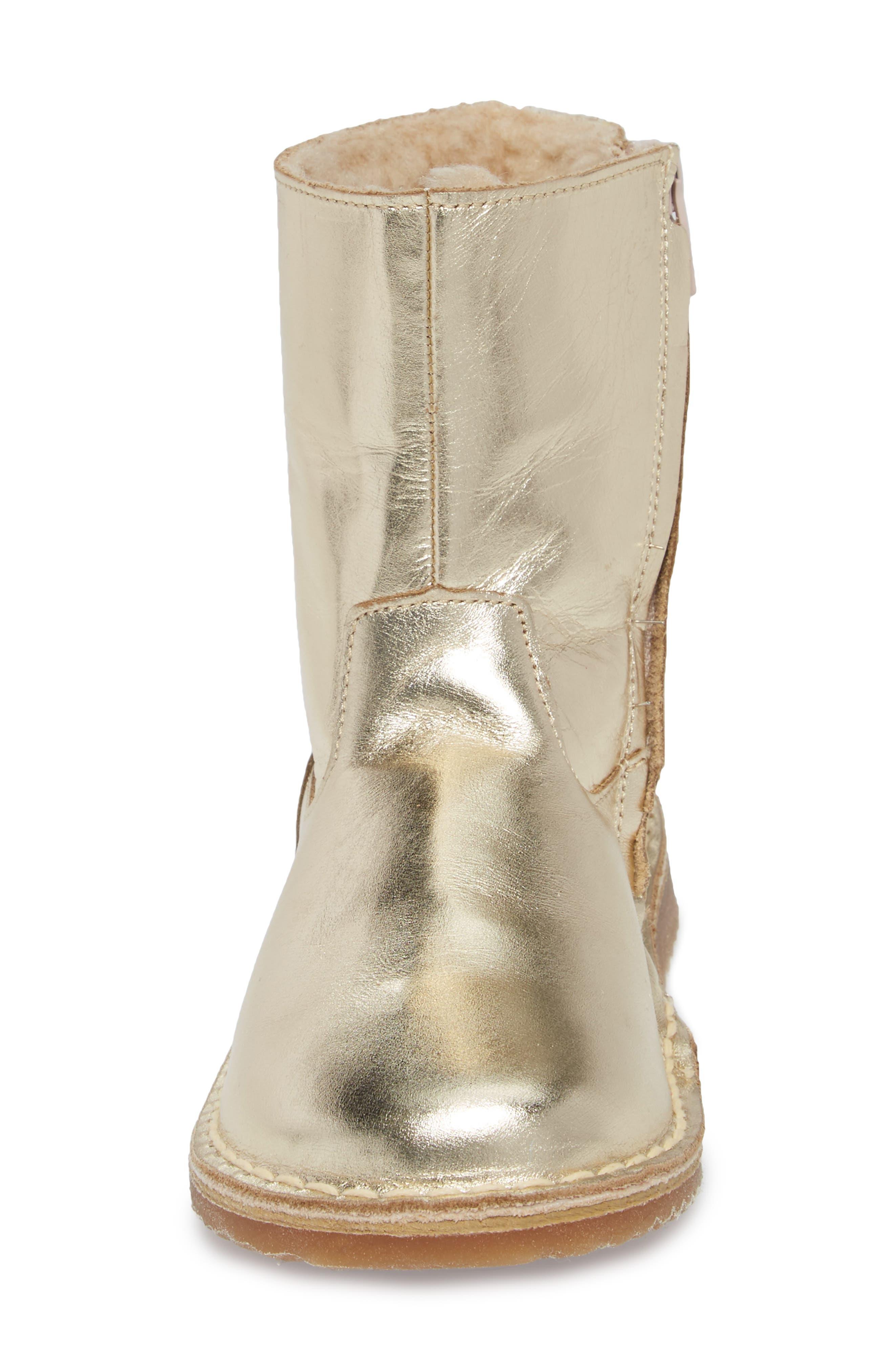 Faux Fur Glitter Star Boot,                             Alternate thumbnail 4, color,                             Metallic Light Gold