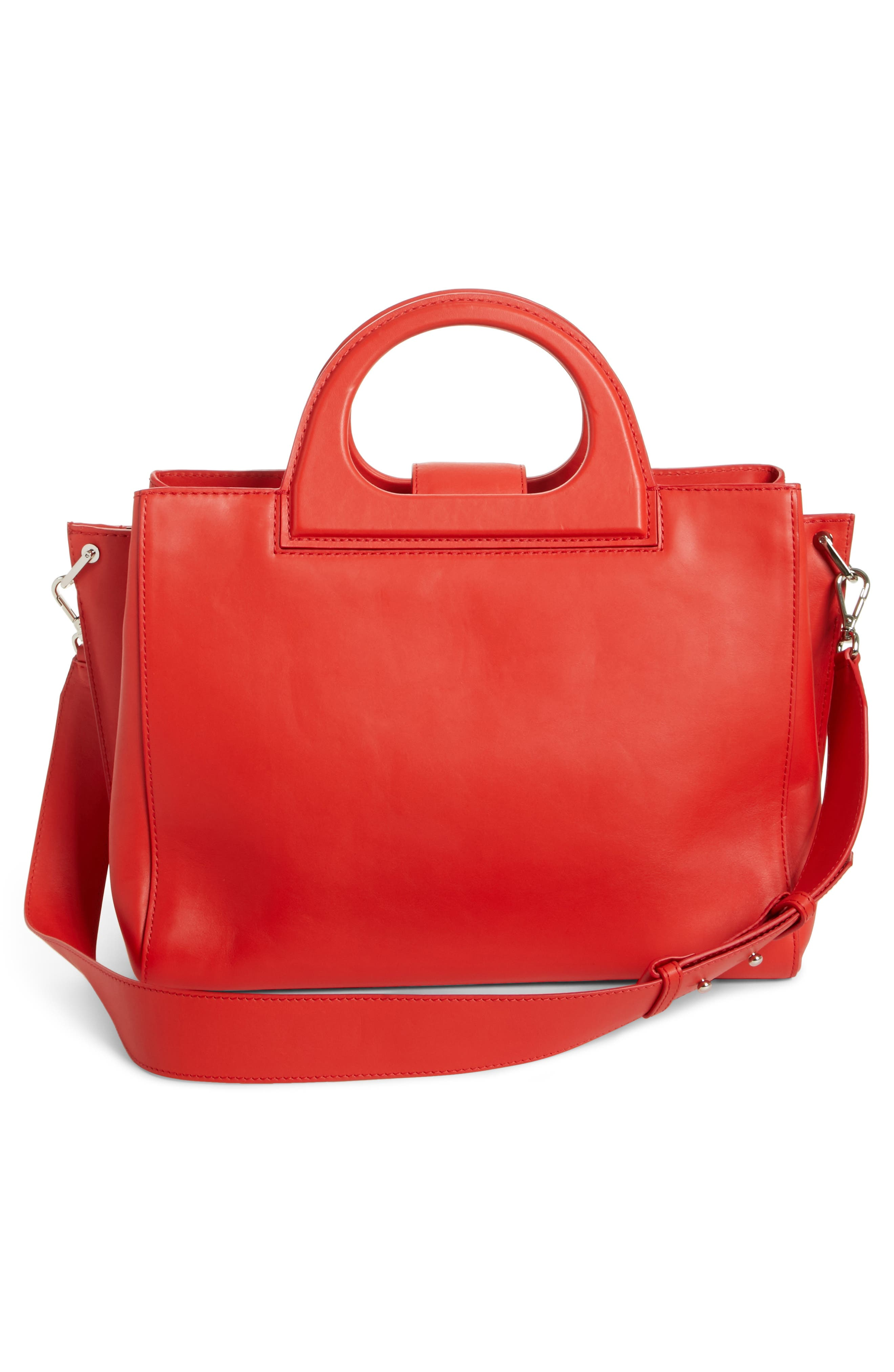 Medium Grace Leather Tote,                             Alternate thumbnail 3, color,                             Coral