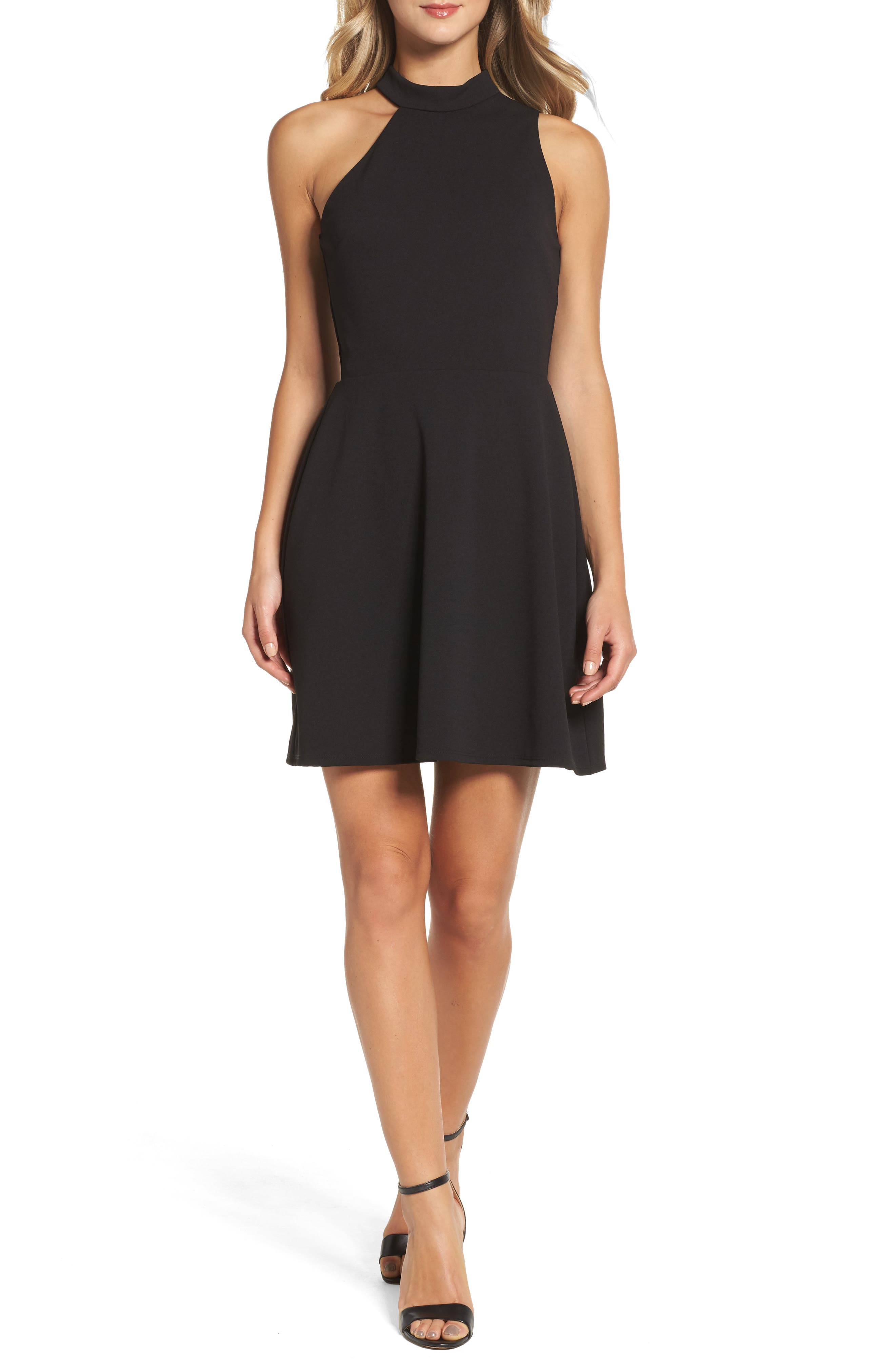 Mock Neck Fit & Flare Dress,                             Main thumbnail 1, color,                             Black