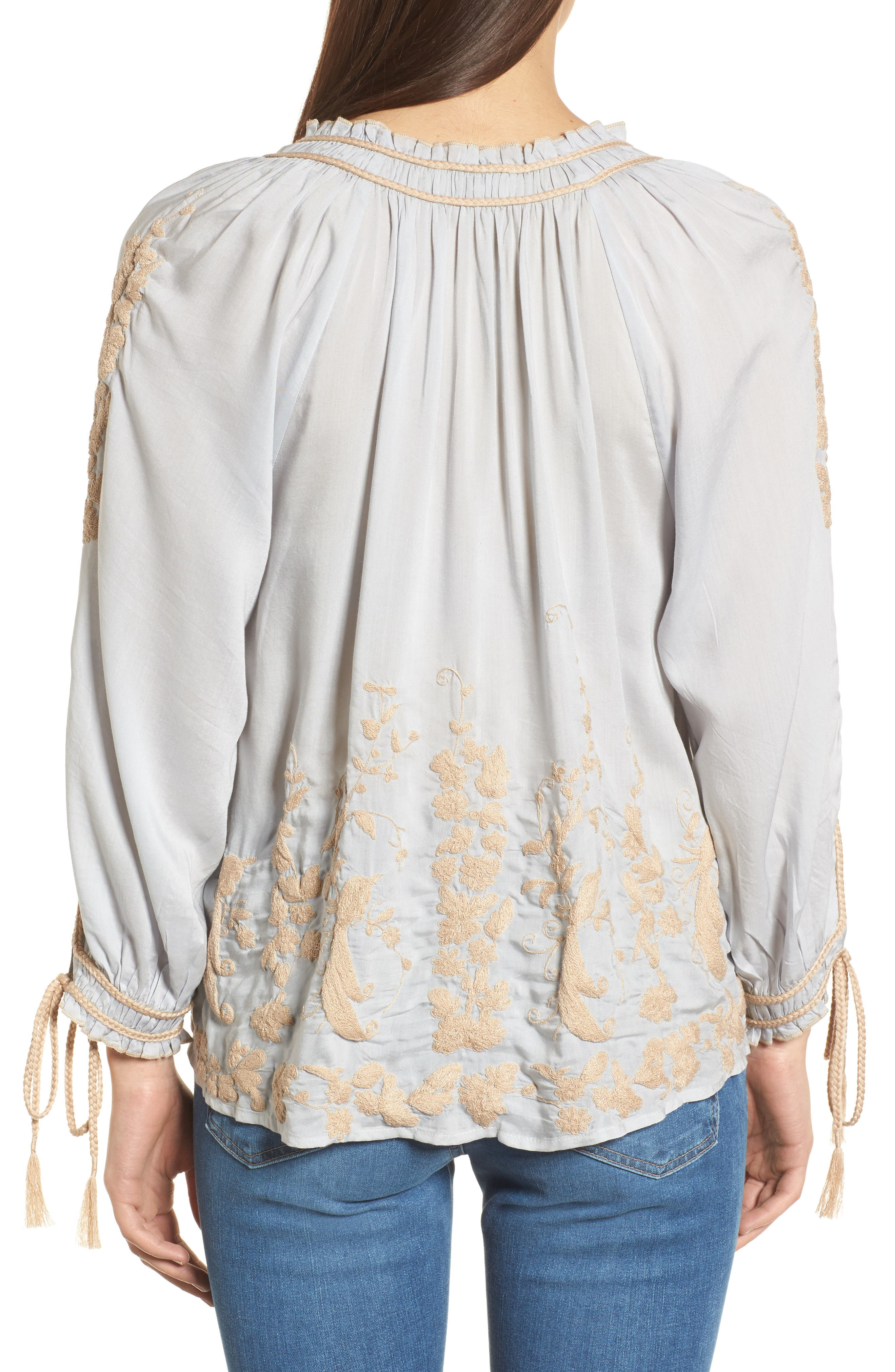 Embroidered Peasant Top,                             Alternate thumbnail 2, color,                             Ice Blue