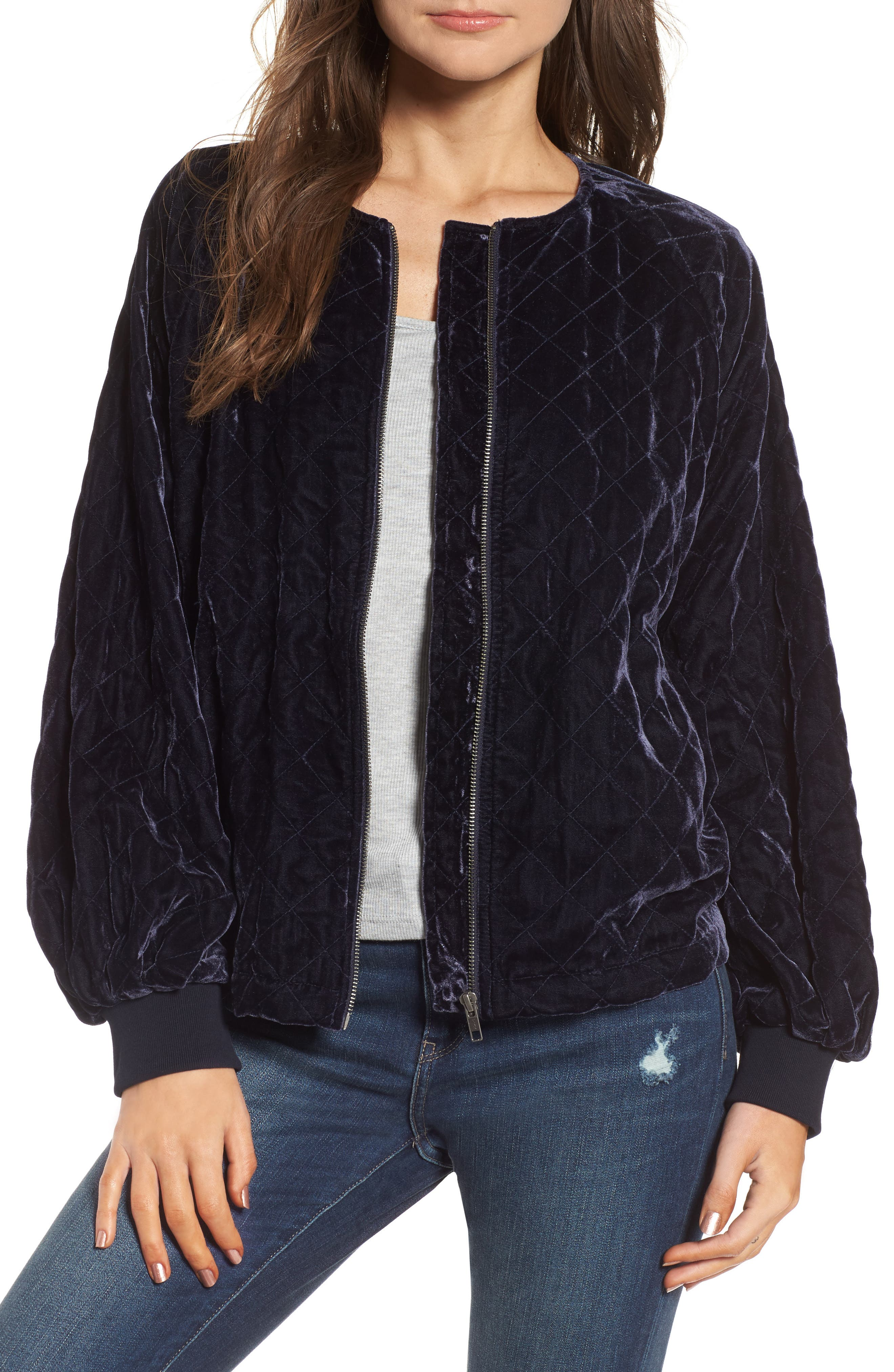Quilted Velvet Jacket,                             Main thumbnail 1, color,                             Navy Night