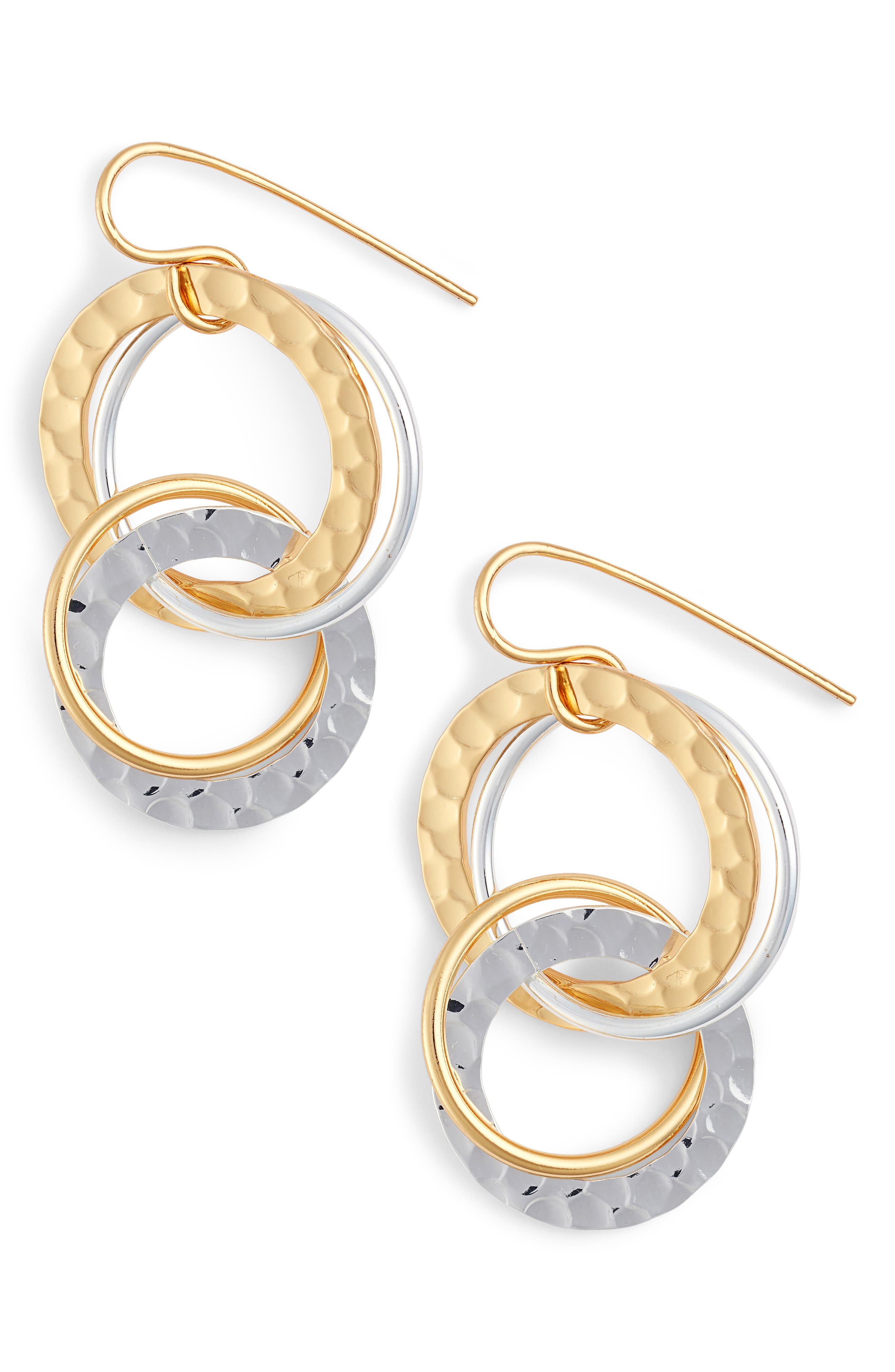 Multi Ring Earrings,                         Main,                         color, Gold/ Silver