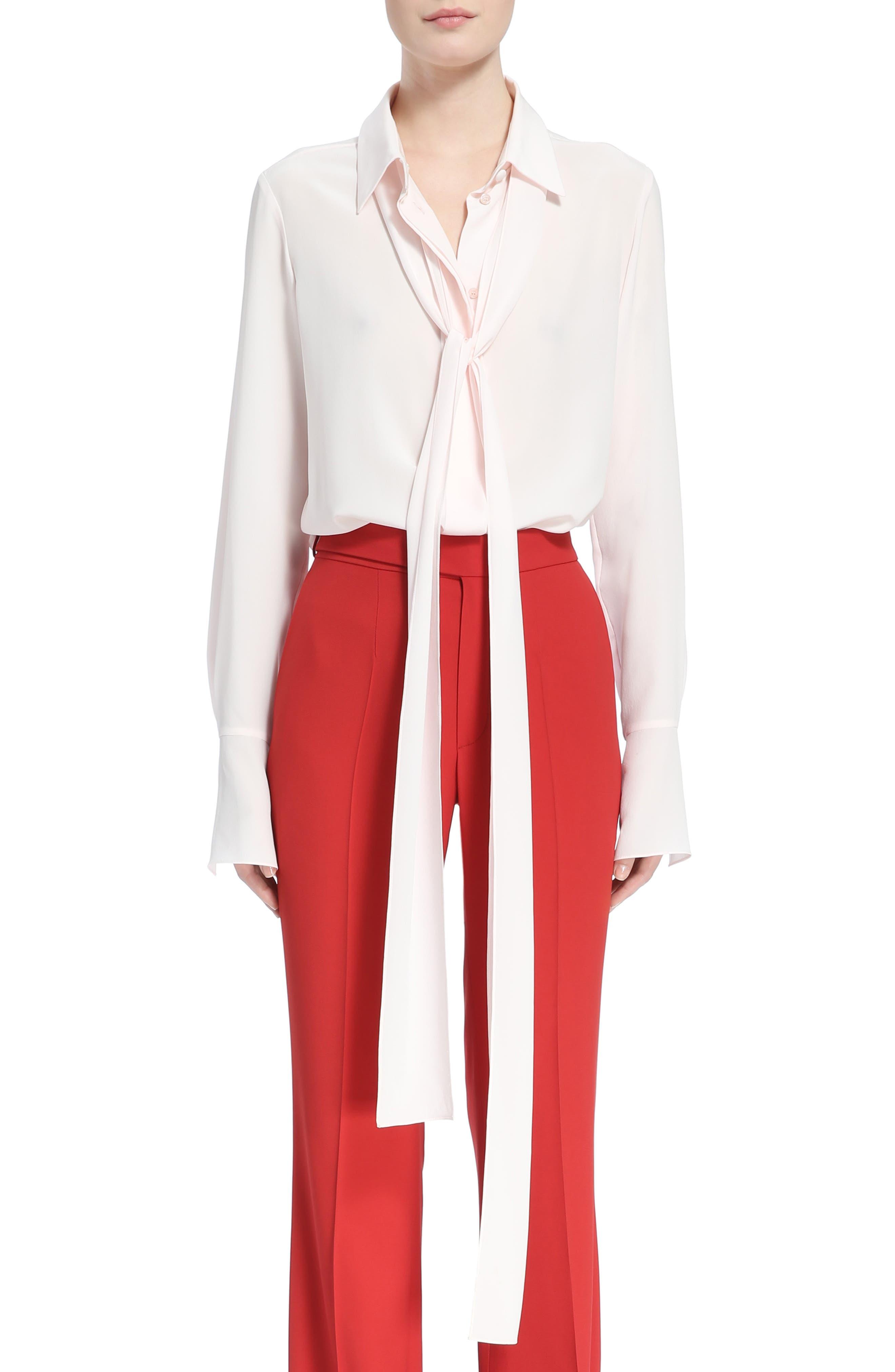 Silk Tie Neck Blouse,                         Main,                         color, Tender Pink