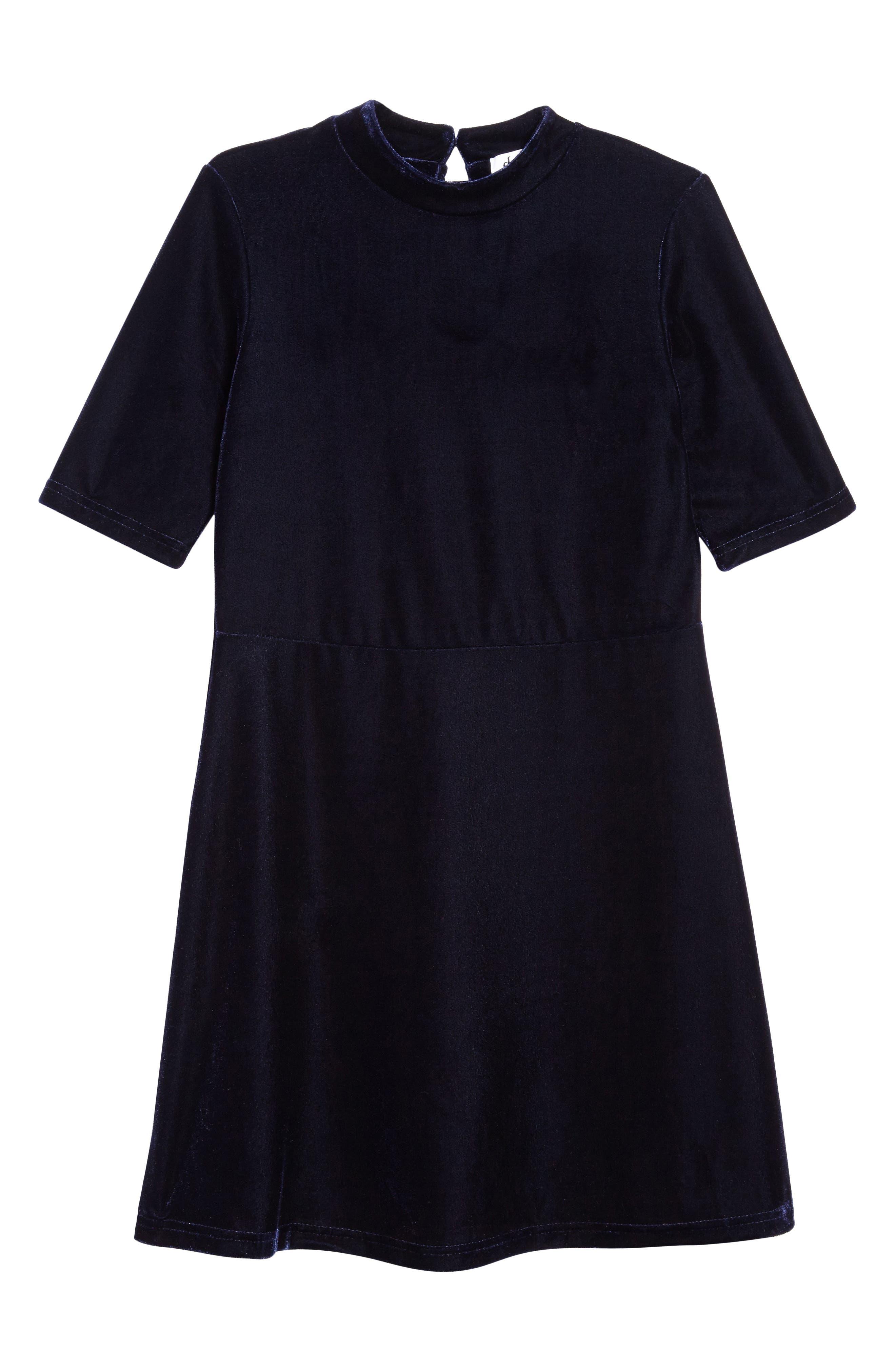 Velvet Party Dress,                         Main,                         color, True Indigo