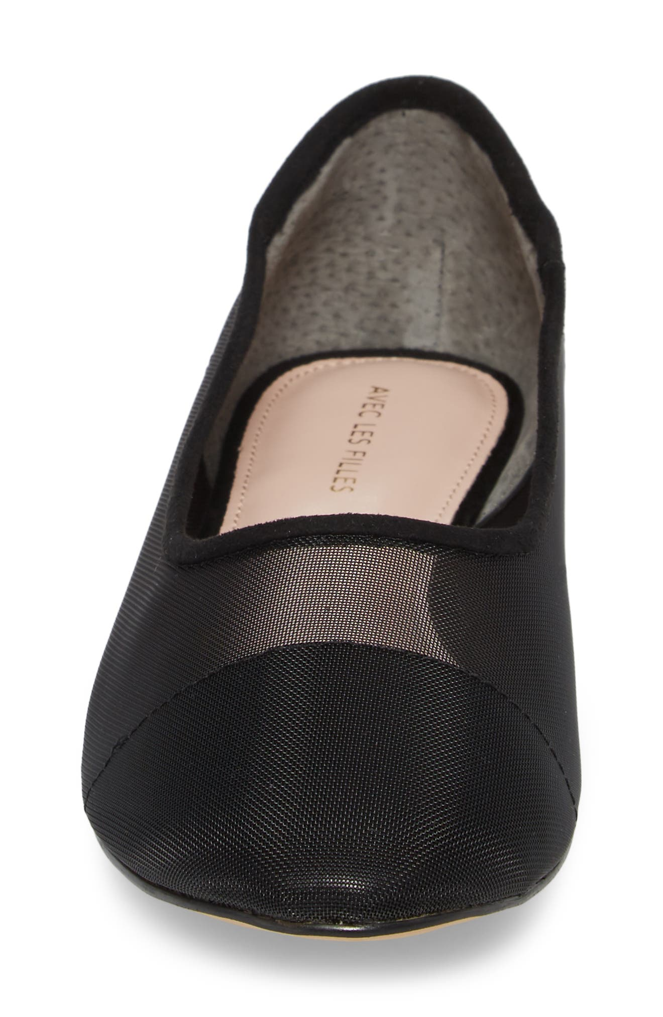 Marian Mesh Inset Flat,                             Alternate thumbnail 4, color,                             Black Suede