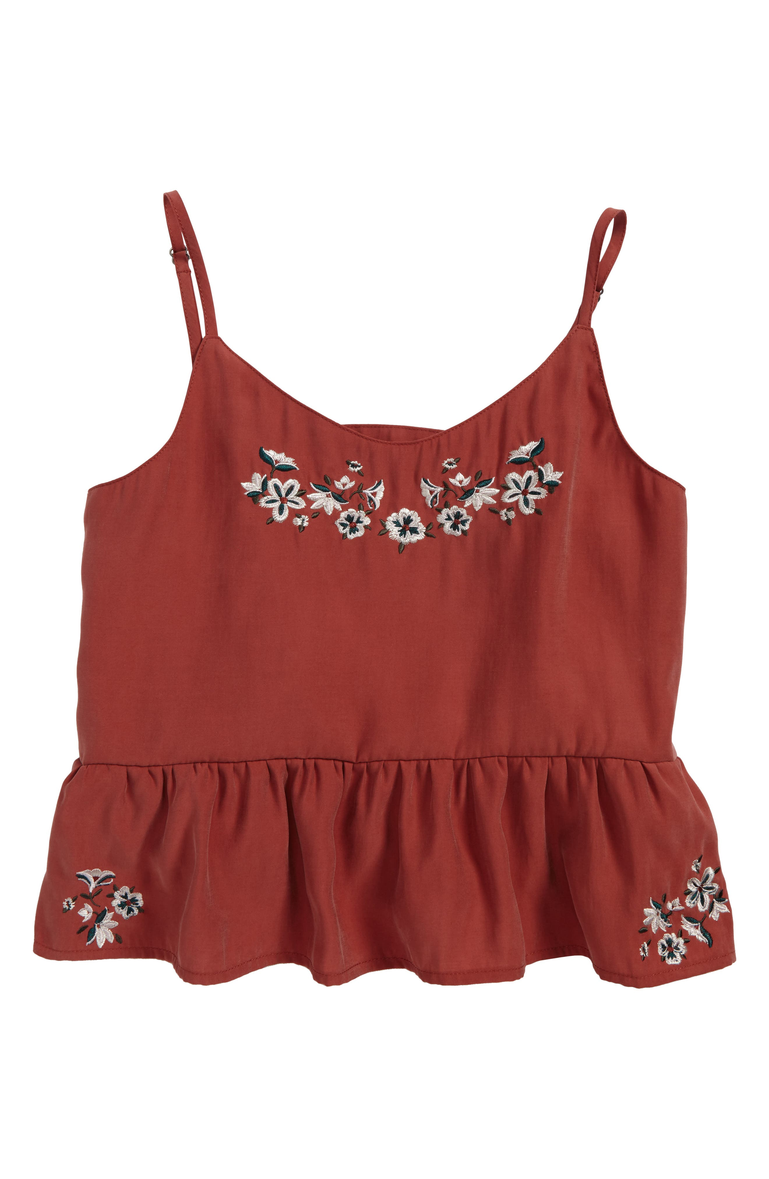 Treasure & Bond Embroidered Peplum Hem Tank (Big Girls)