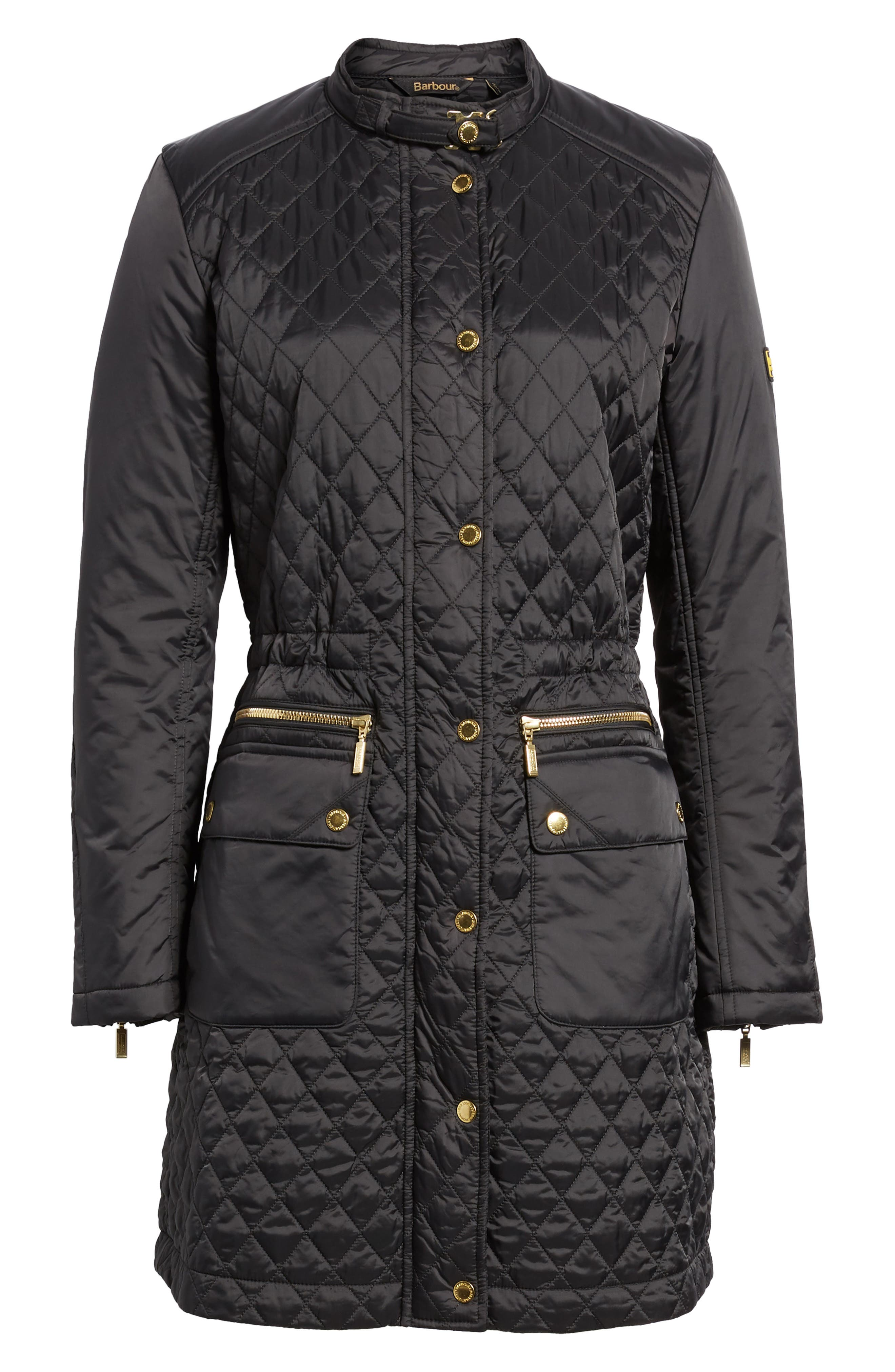Quilted Jacket,                             Alternate thumbnail 6, color,                             Black