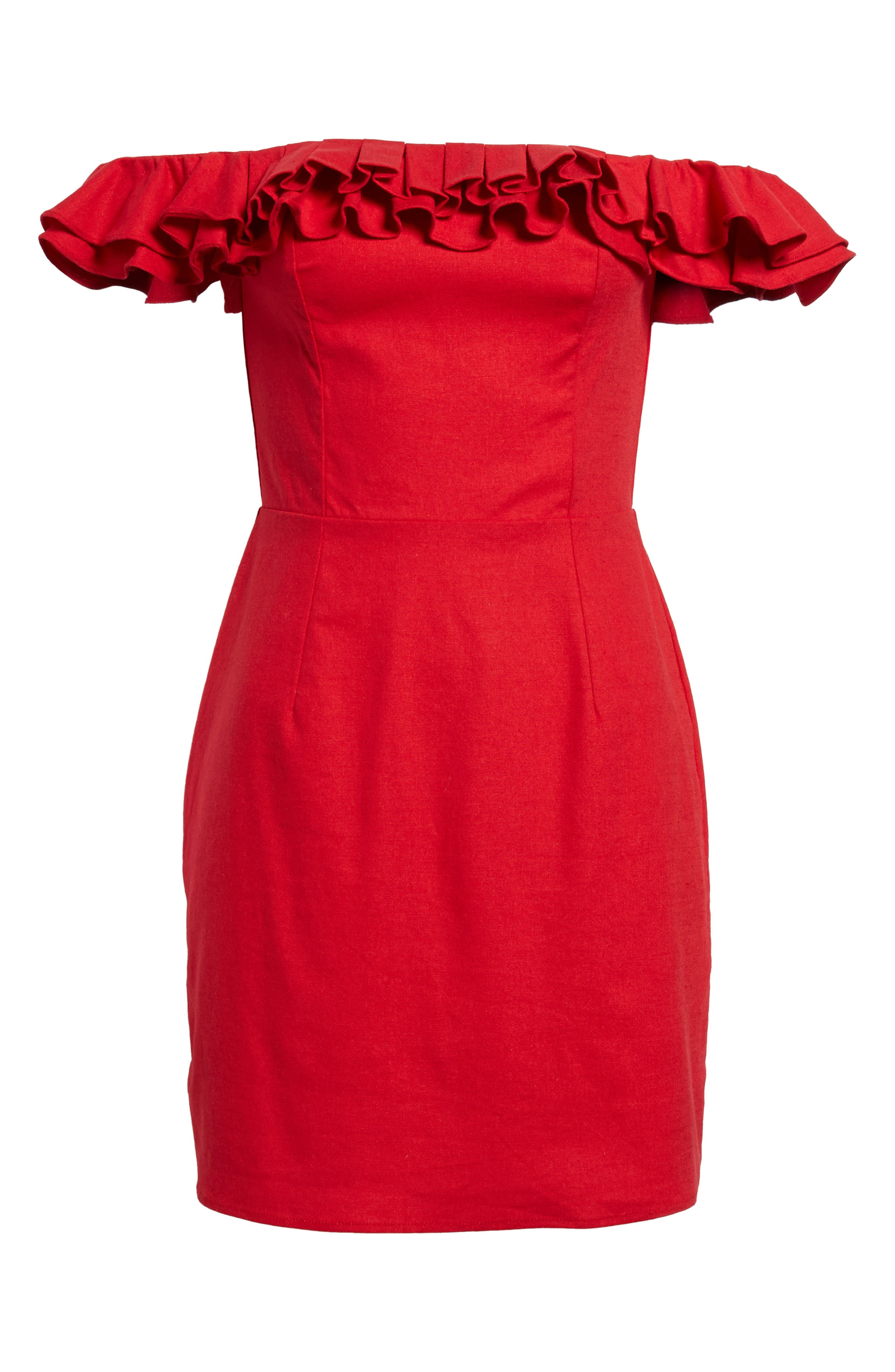 Ruffle Off the Shoulder Minidress,                             Alternate thumbnail 6, color,                             Red