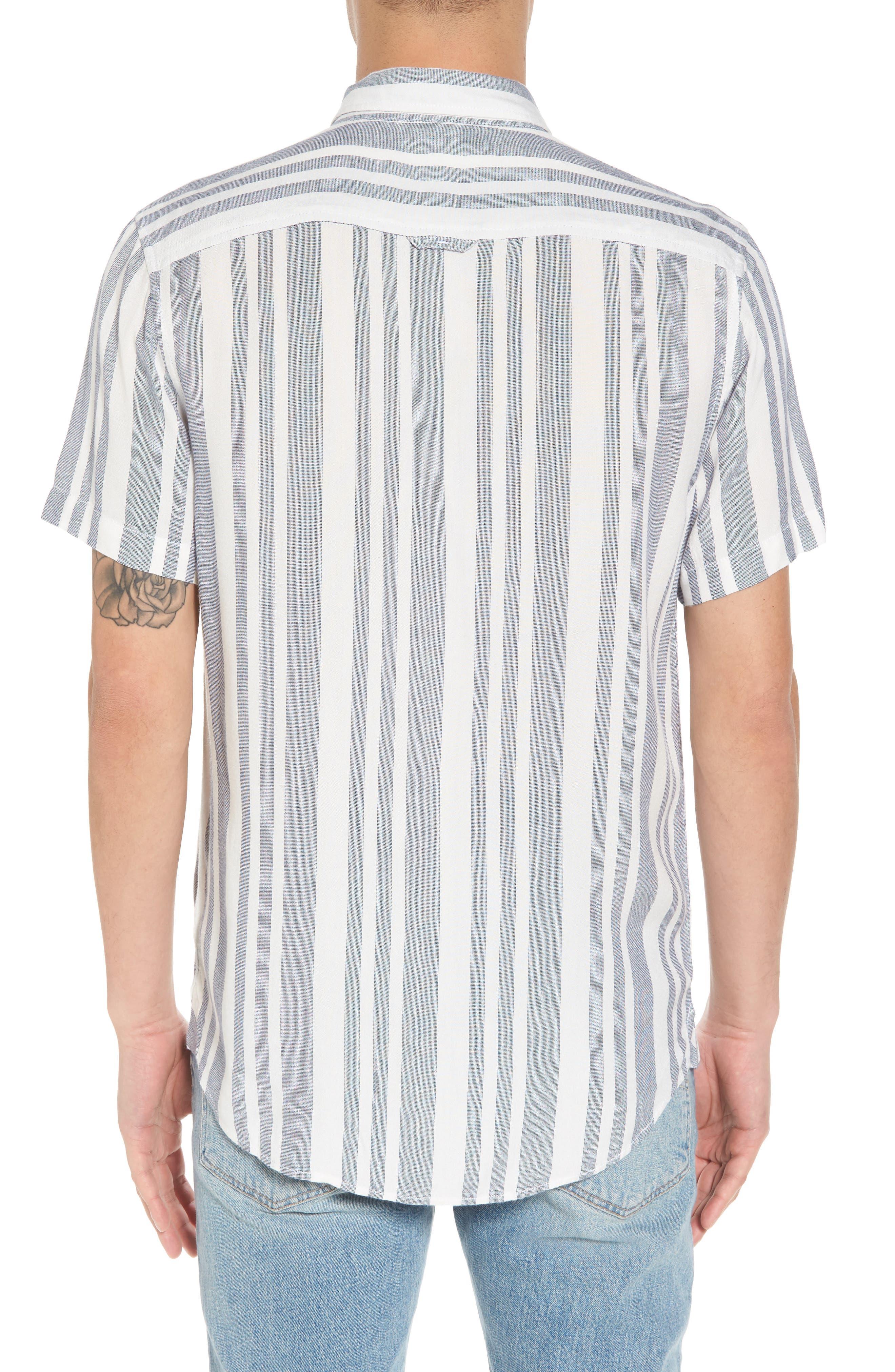 Stripe Woven Shirt,                             Alternate thumbnail 3, color,                             Navy White Eoe Stripe