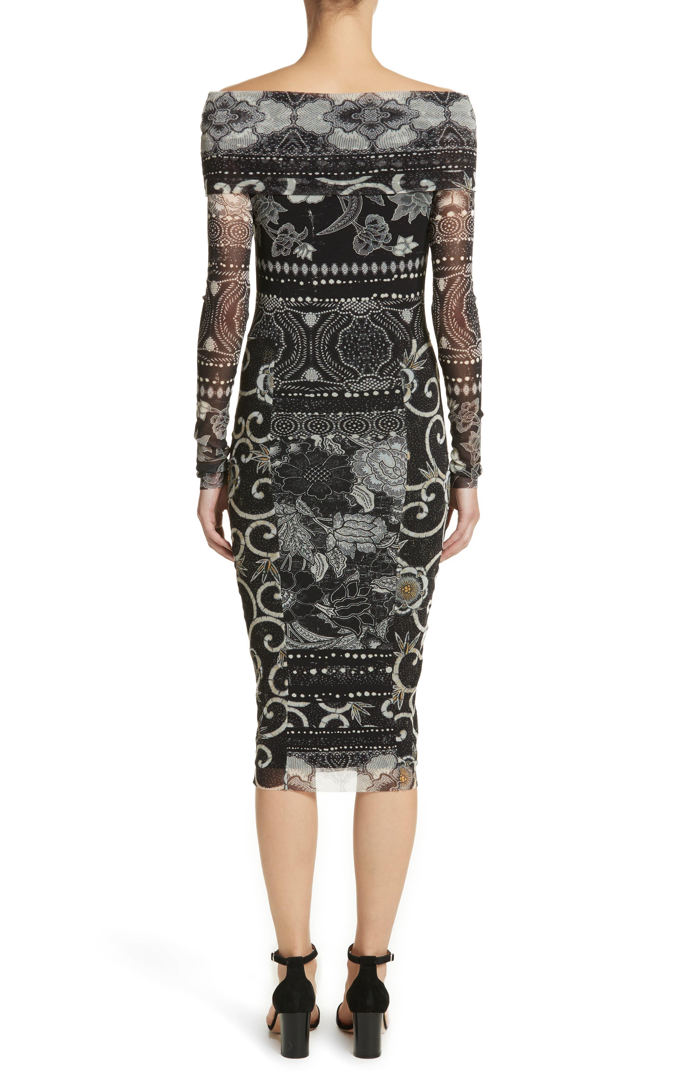 Mixed Print Tulle Body-Ccon Dress,                             Alternate thumbnail 2, color,                             Nero