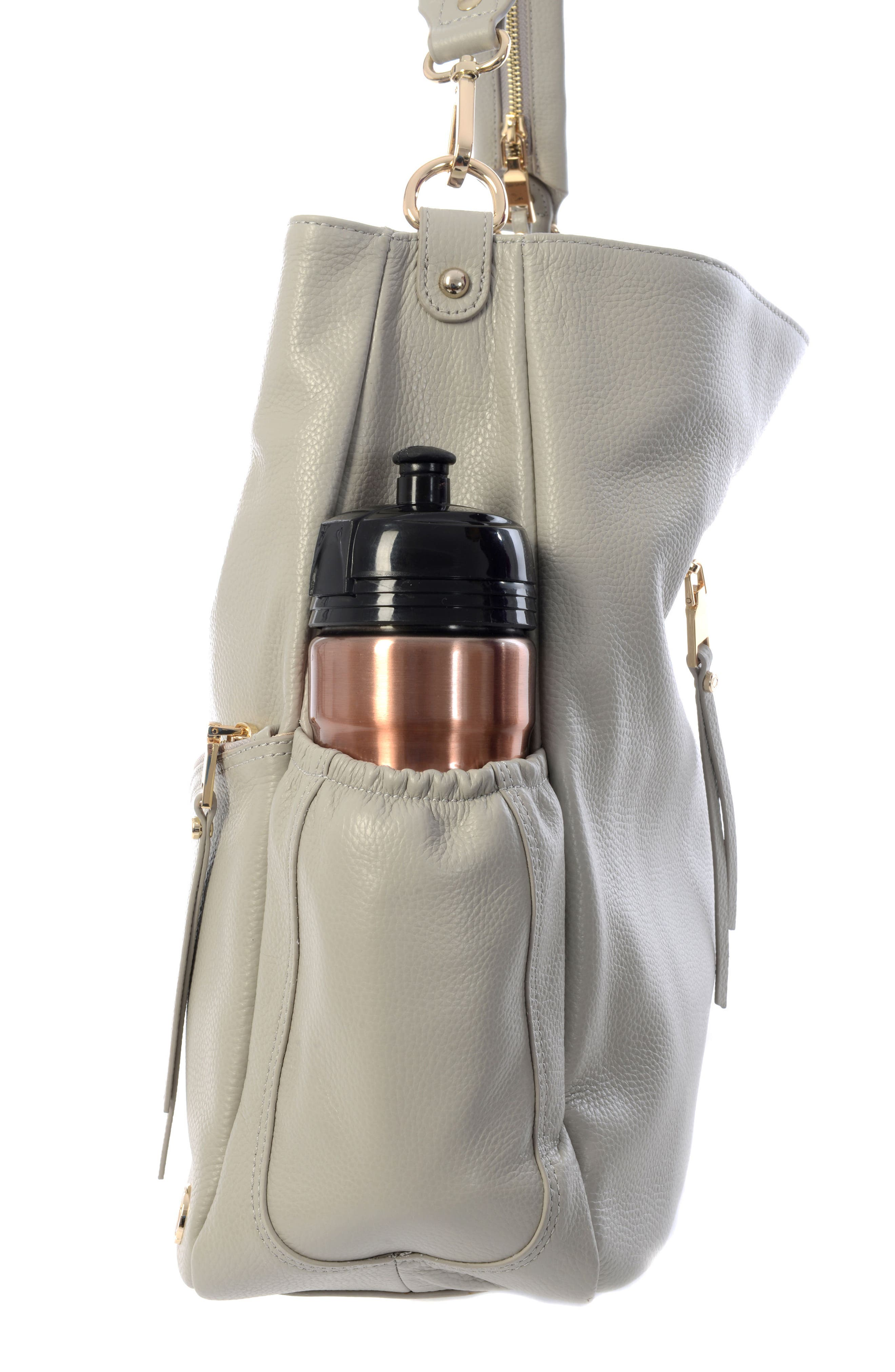 Joy XL Leather Backpack,                             Alternate thumbnail 4, color,                             Ice Grey