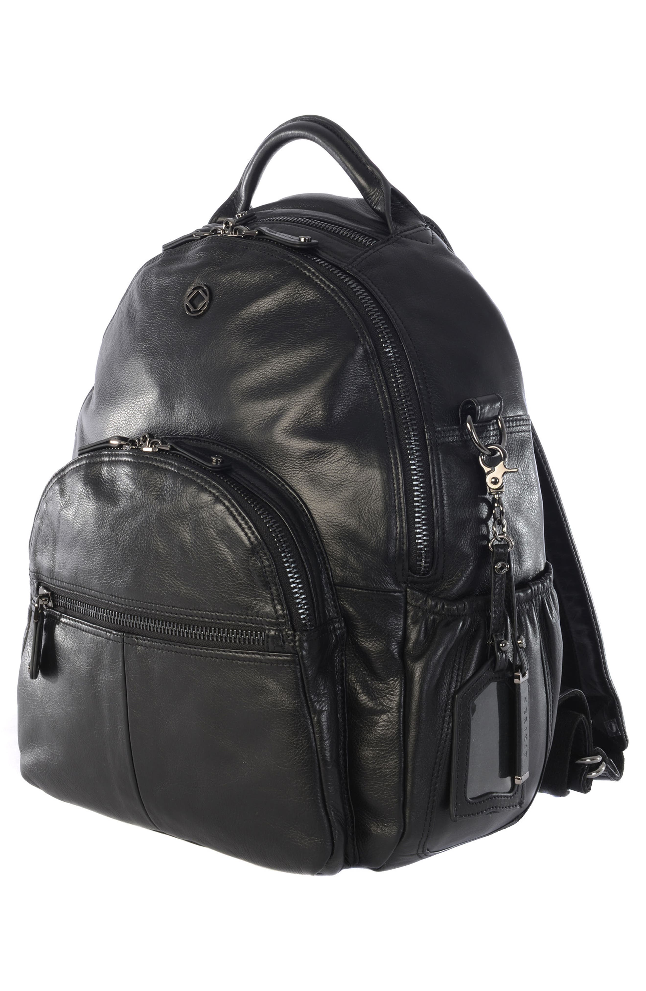 Joy XL Leather Backpack,                             Alternate thumbnail 4, color,                             Black