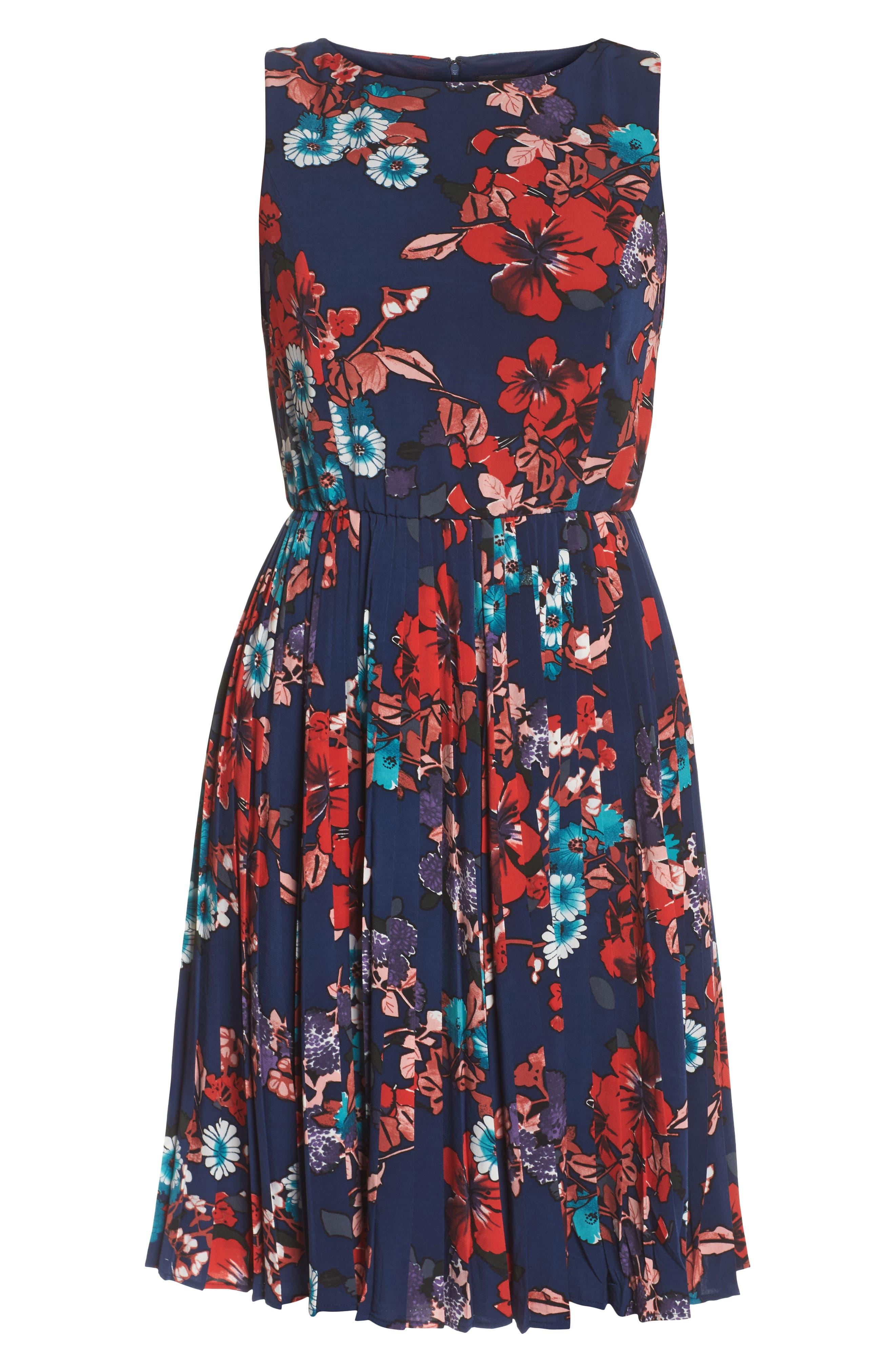 Botanical Soiree Fit & Flare Dress,                             Alternate thumbnail 6, color,                             Blue Multi