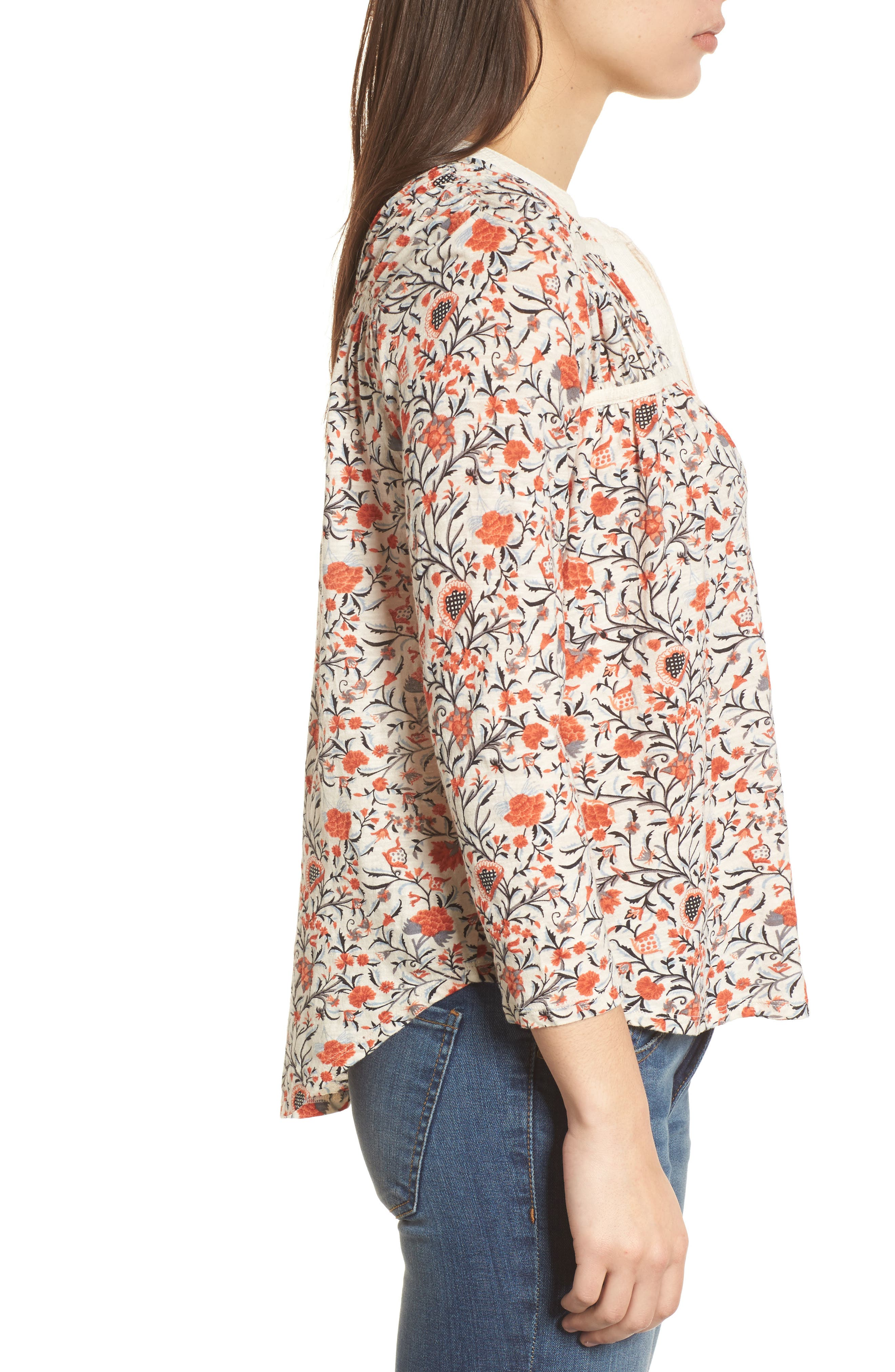 Smocked Floral Print Blouse,                             Alternate thumbnail 3, color,                             Natural Multi