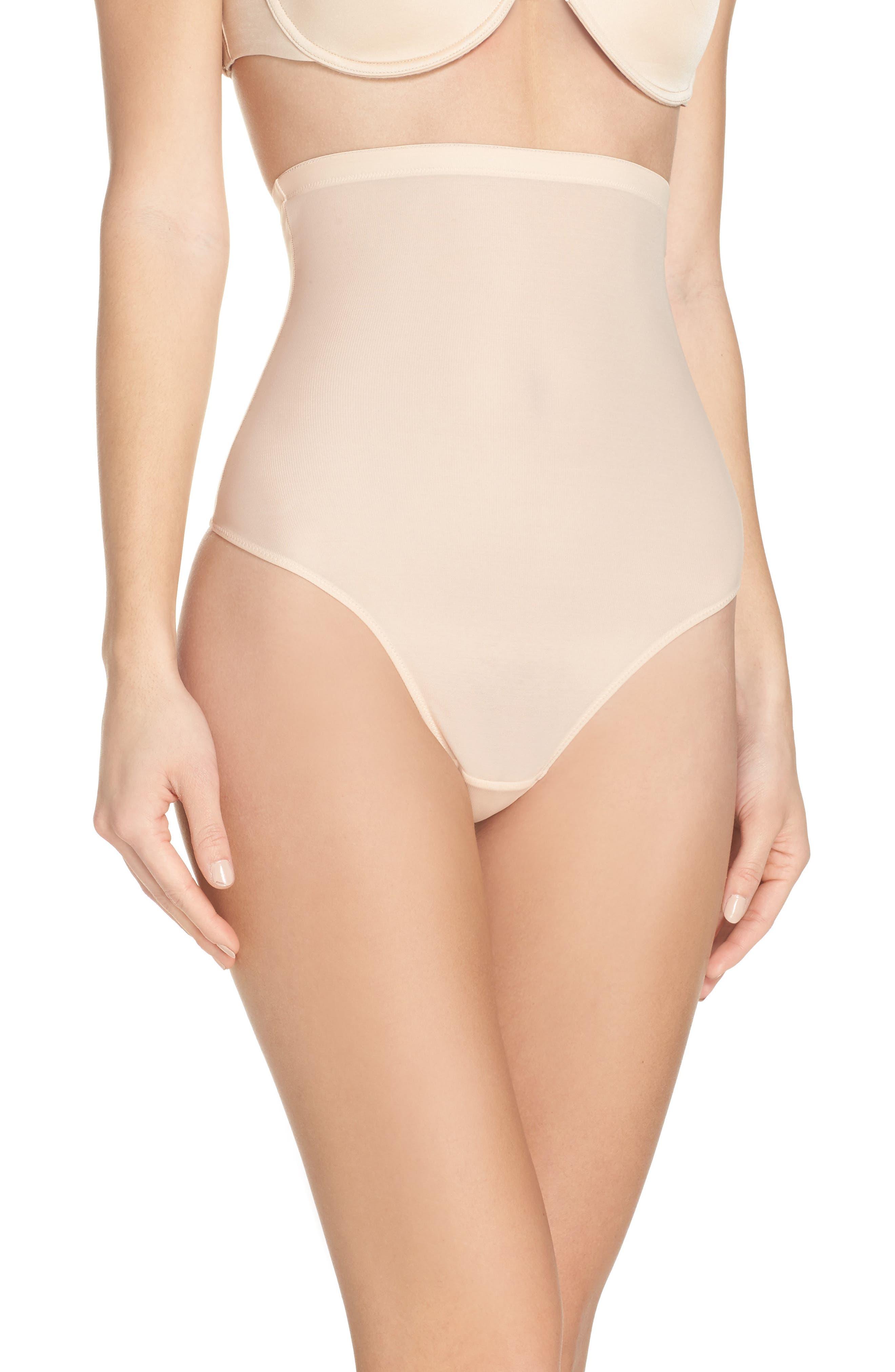 Lite High Waist Shaping Thong,                             Main thumbnail 1, color,                             Latte