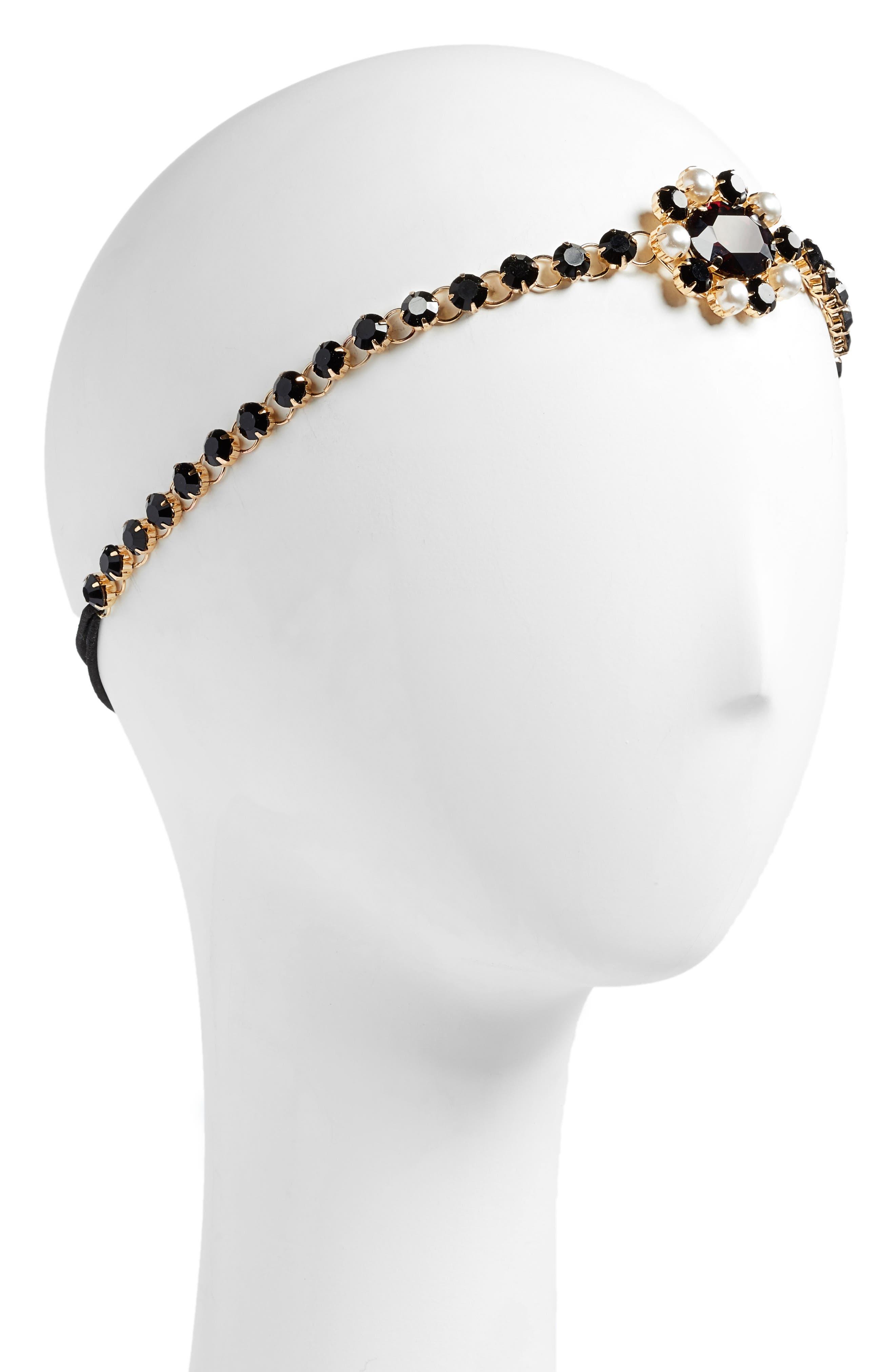 Cara Crystal & Imitation Pearl Medallion Head Wrap