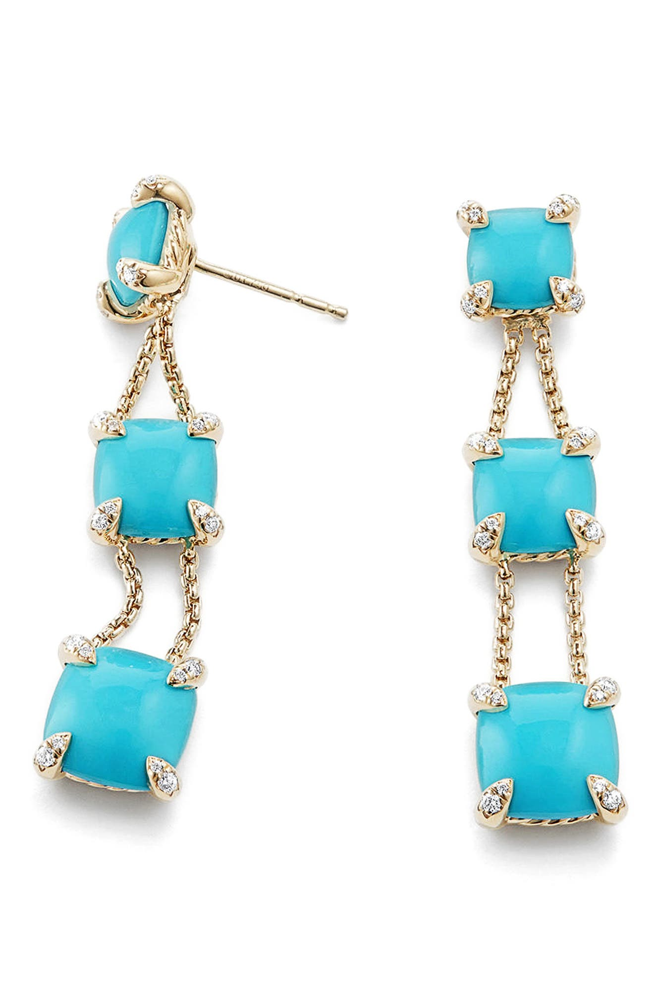 Châtelaine Linear Chain Earrings in 18K Gold with Semiprecious Stone and Diamonds,                             Alternate thumbnail 2, color,                             Turquoise