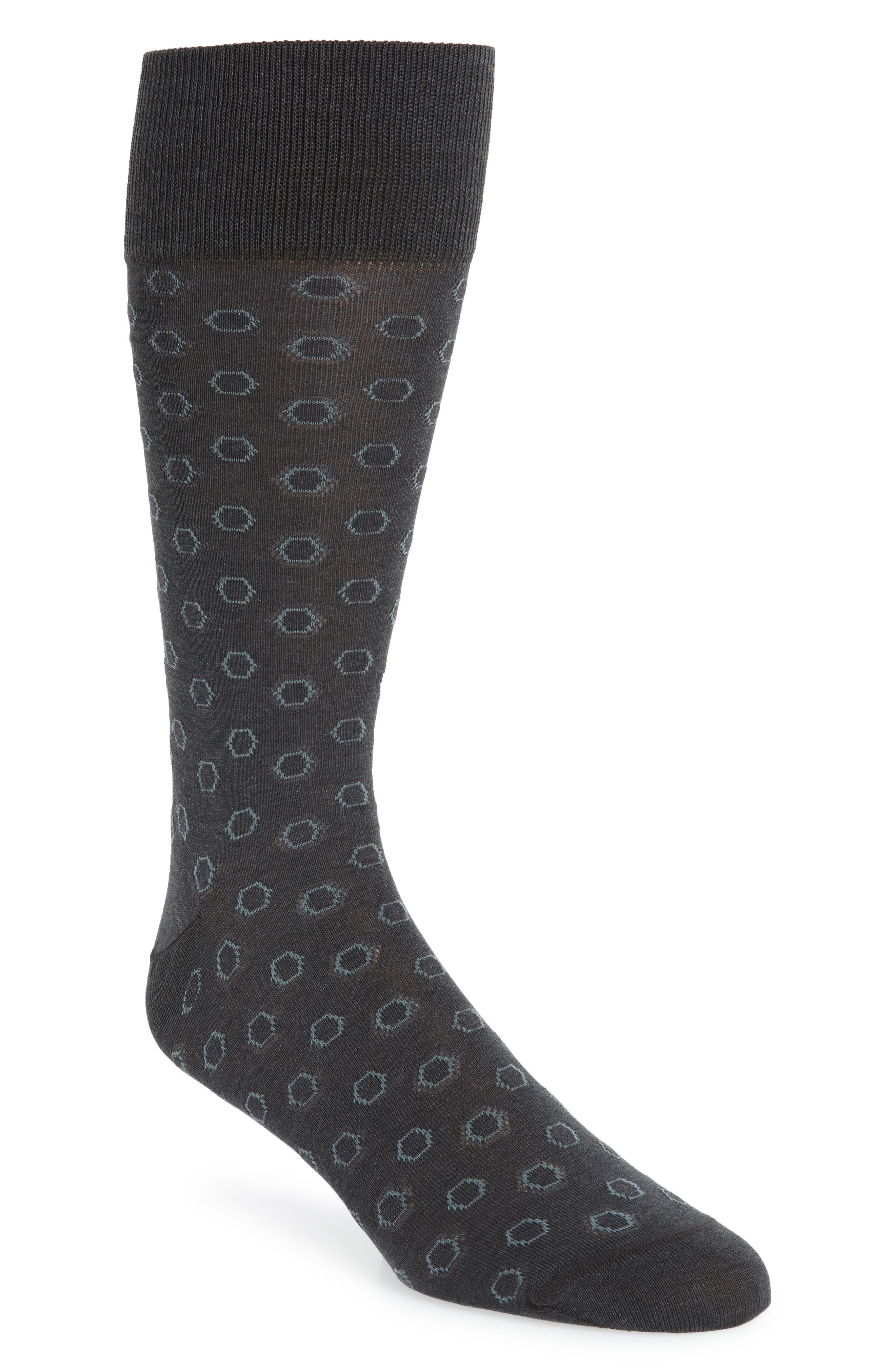 Hexagon Socks,                             Main thumbnail 1, color,                             Charcoal Heather
