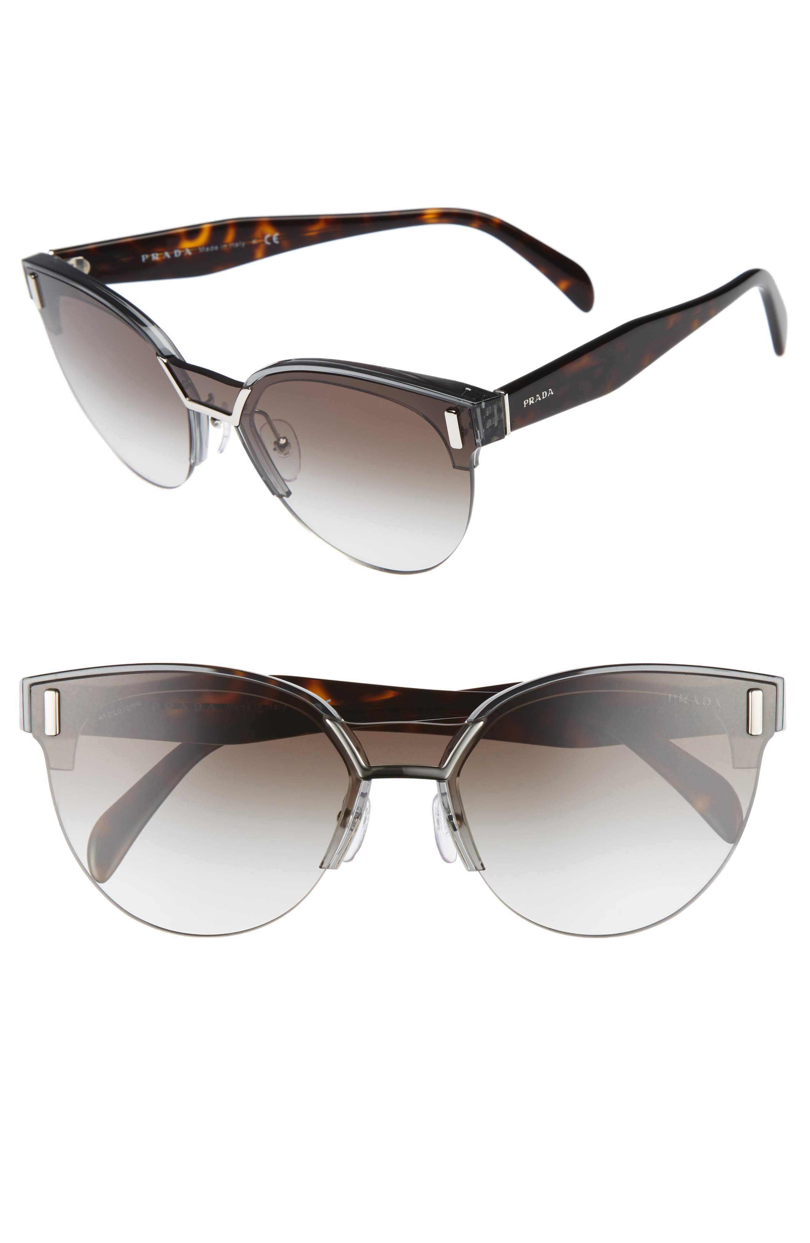 Prada 50mm Semi Rimless Gradient Sunglasses